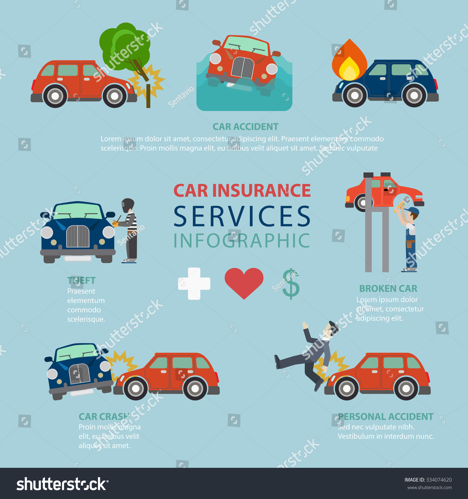 Car Insurance Service Flat Style Thematic Stock Vector ...
