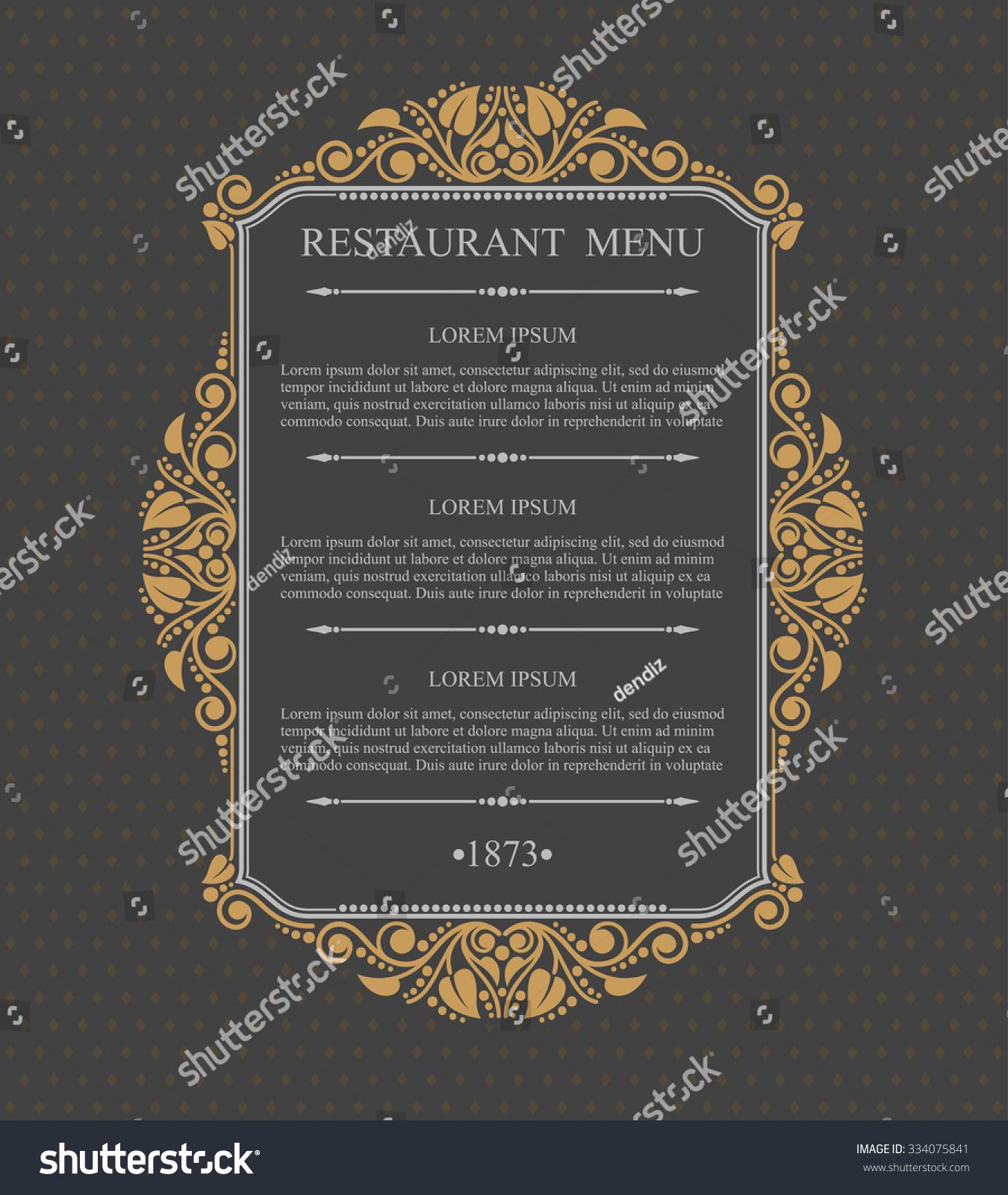 Retro restaurant menu typographic design elements stock