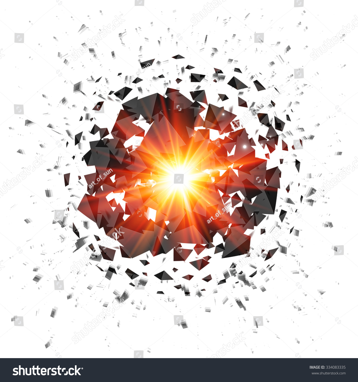 Red Flaming Vec... Explosion White Background