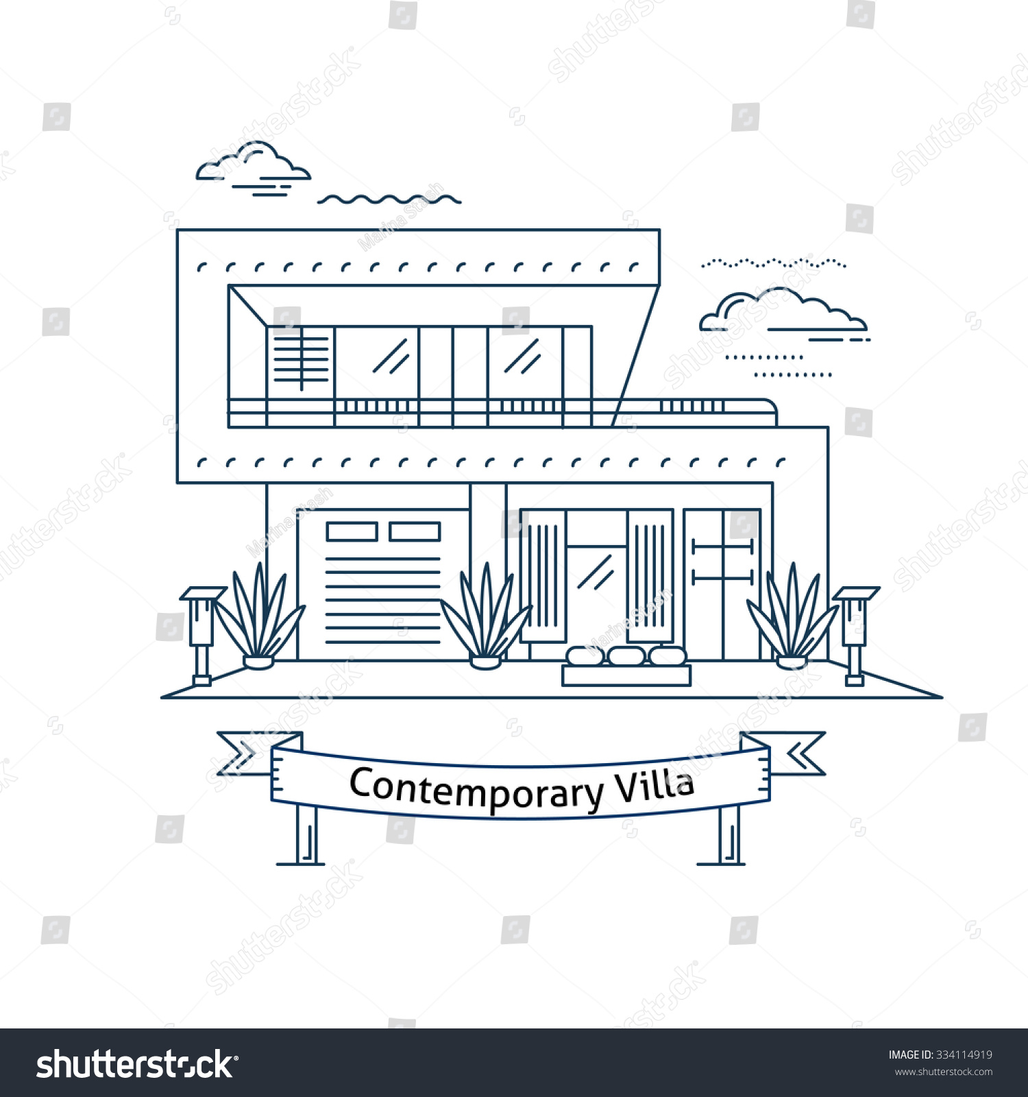 Real estate market concept flat line stock vector for Flat architecture design