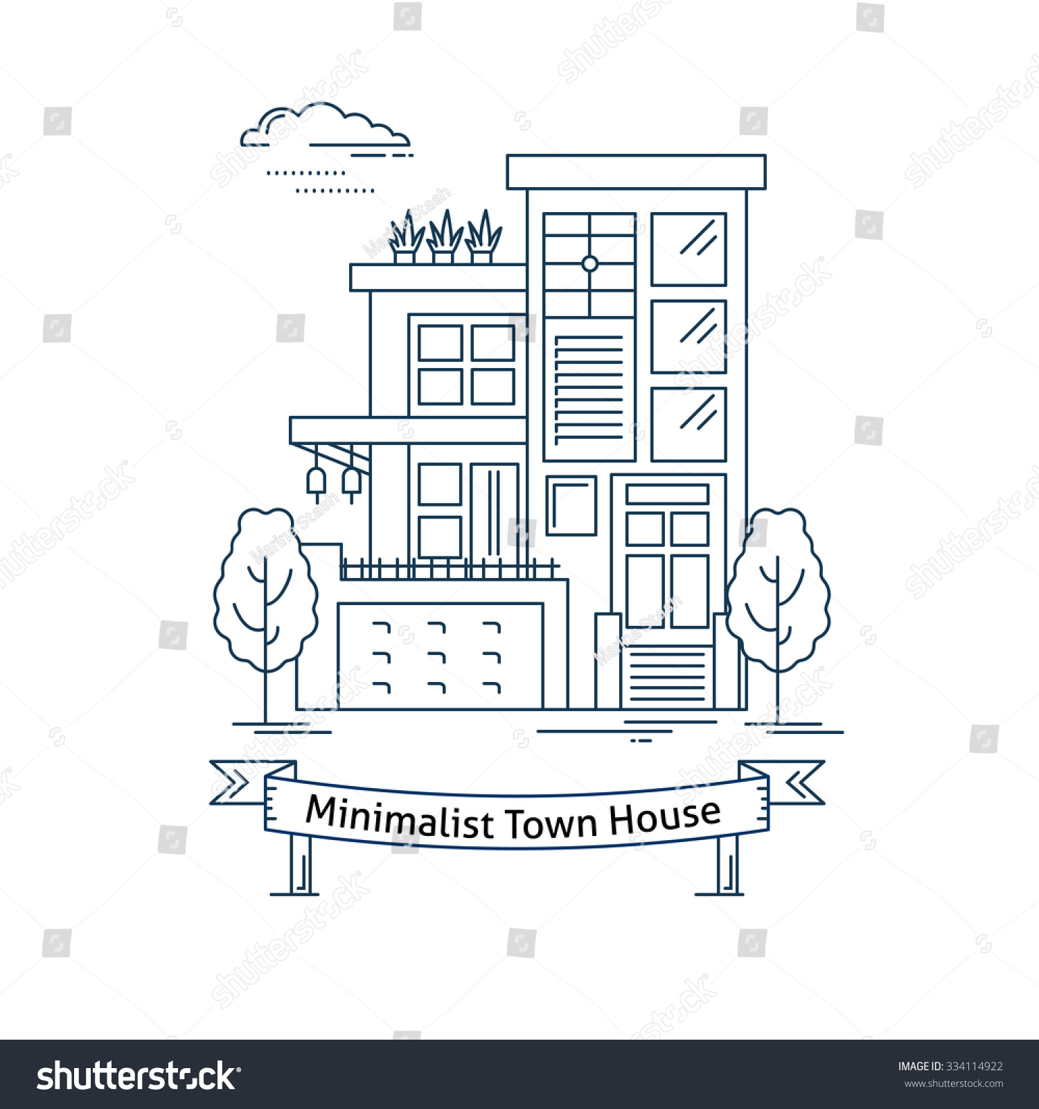 Coloring book real estate - Real Estate Market Concept Flat Line Vector Architecture Design Outlined Stroke Icon Modern Minimalist