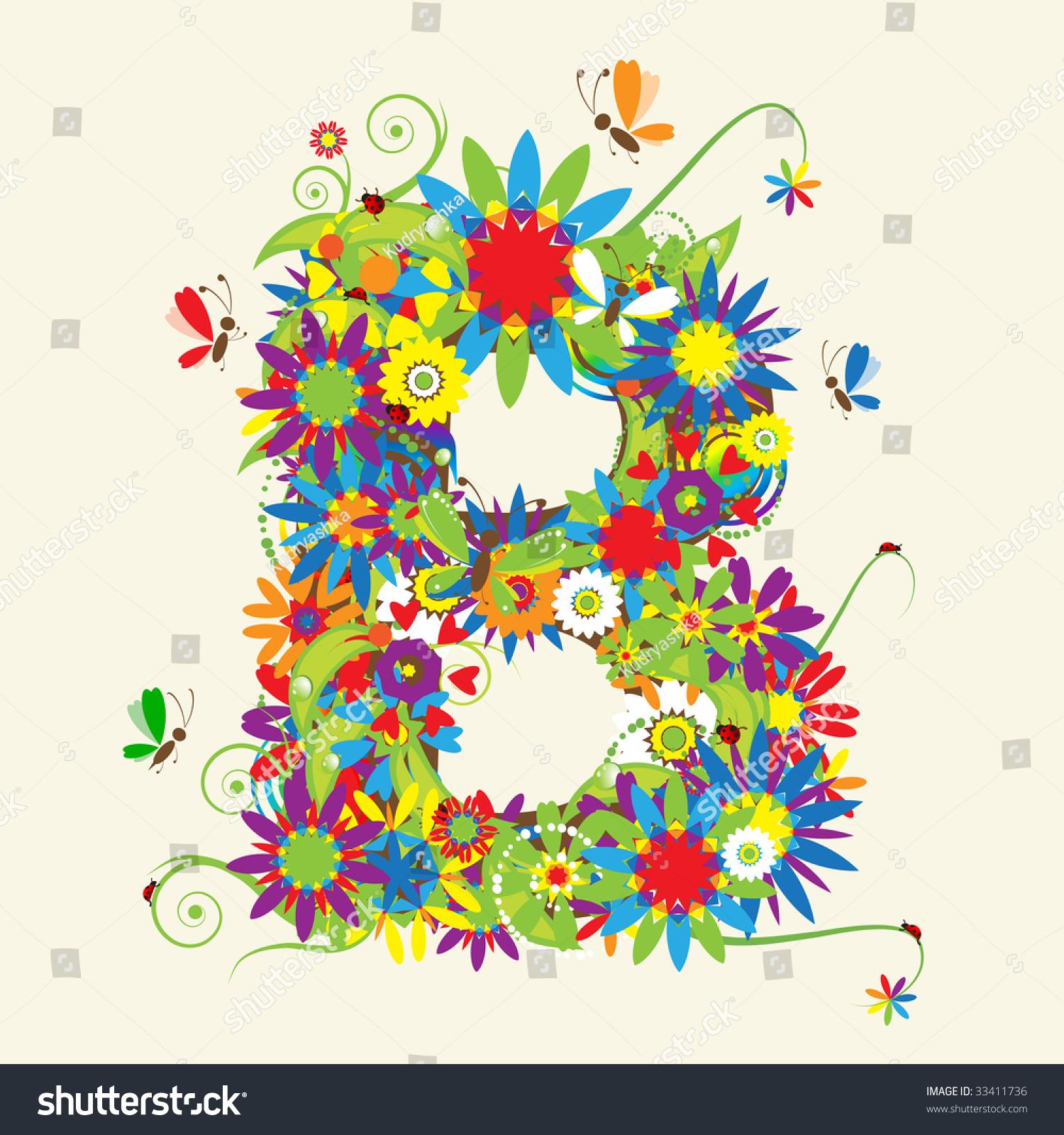 letter b floral design see letters stock vector 33411736. Black Bedroom Furniture Sets. Home Design Ideas