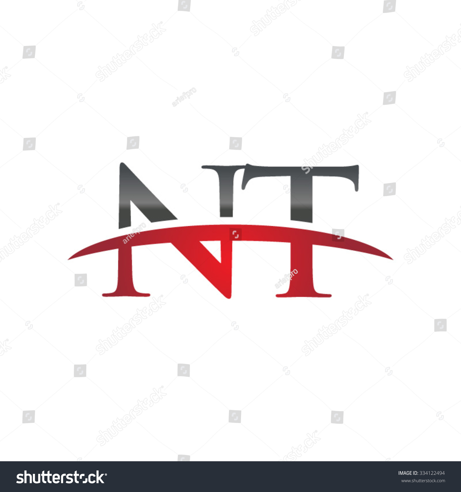 Nt Initial Company Red Swoosh Logo Stock Vector 334122494 Shutterstock