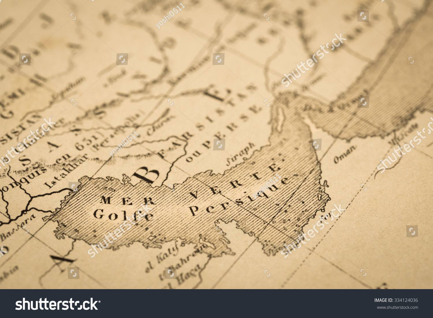 Royalty-free Antique world map, the Persian Gulf #334124036 Stock ...
