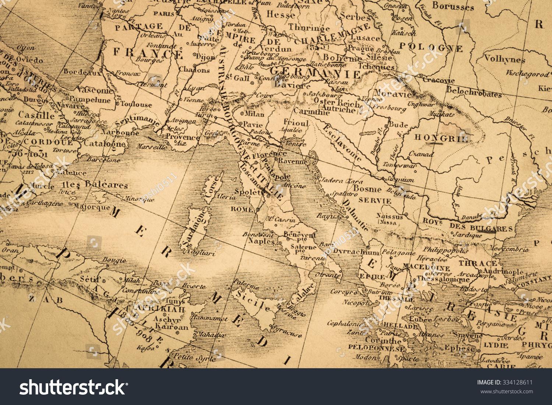 Antique map world mediterranean coastal areas stock photo antique map of the world the mediterranean coastal areas sciox Images