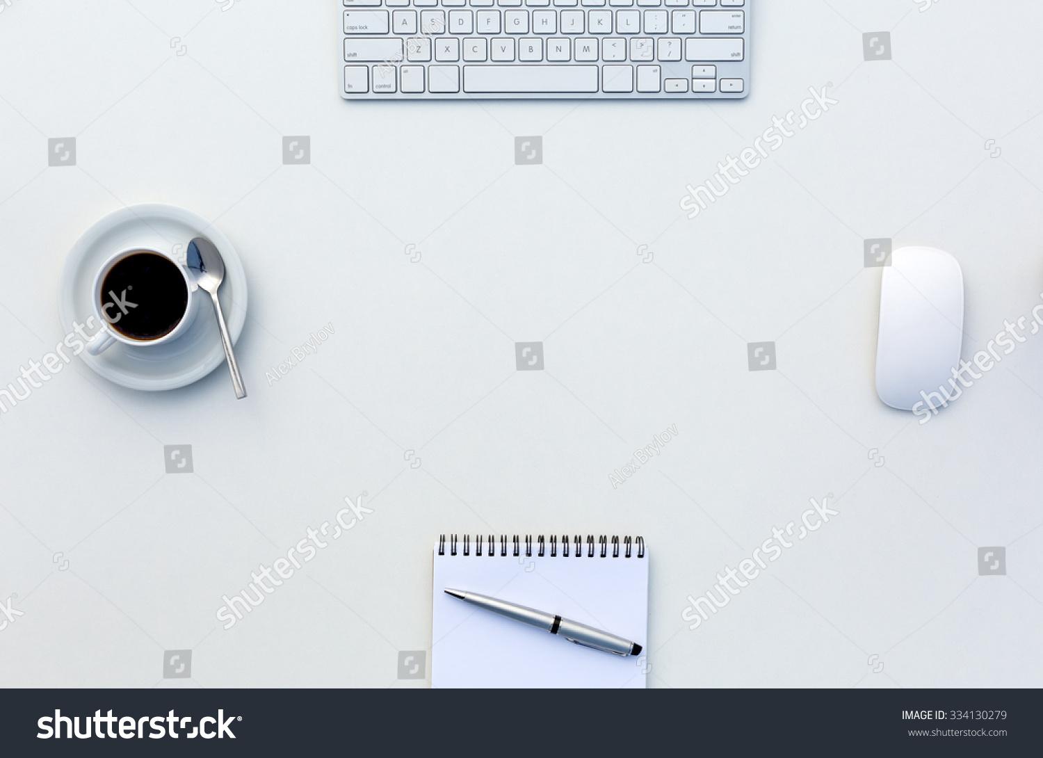 Bright Open Space Office White Table Top View With Coffee Mug Opened