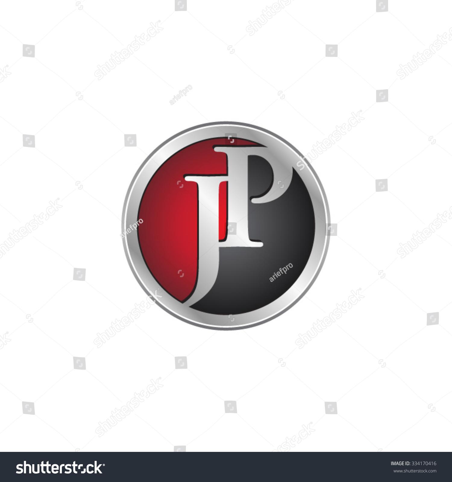 Tj initial luxury ornament monogram logo stock vector - Jp Initial Circle Logo Red