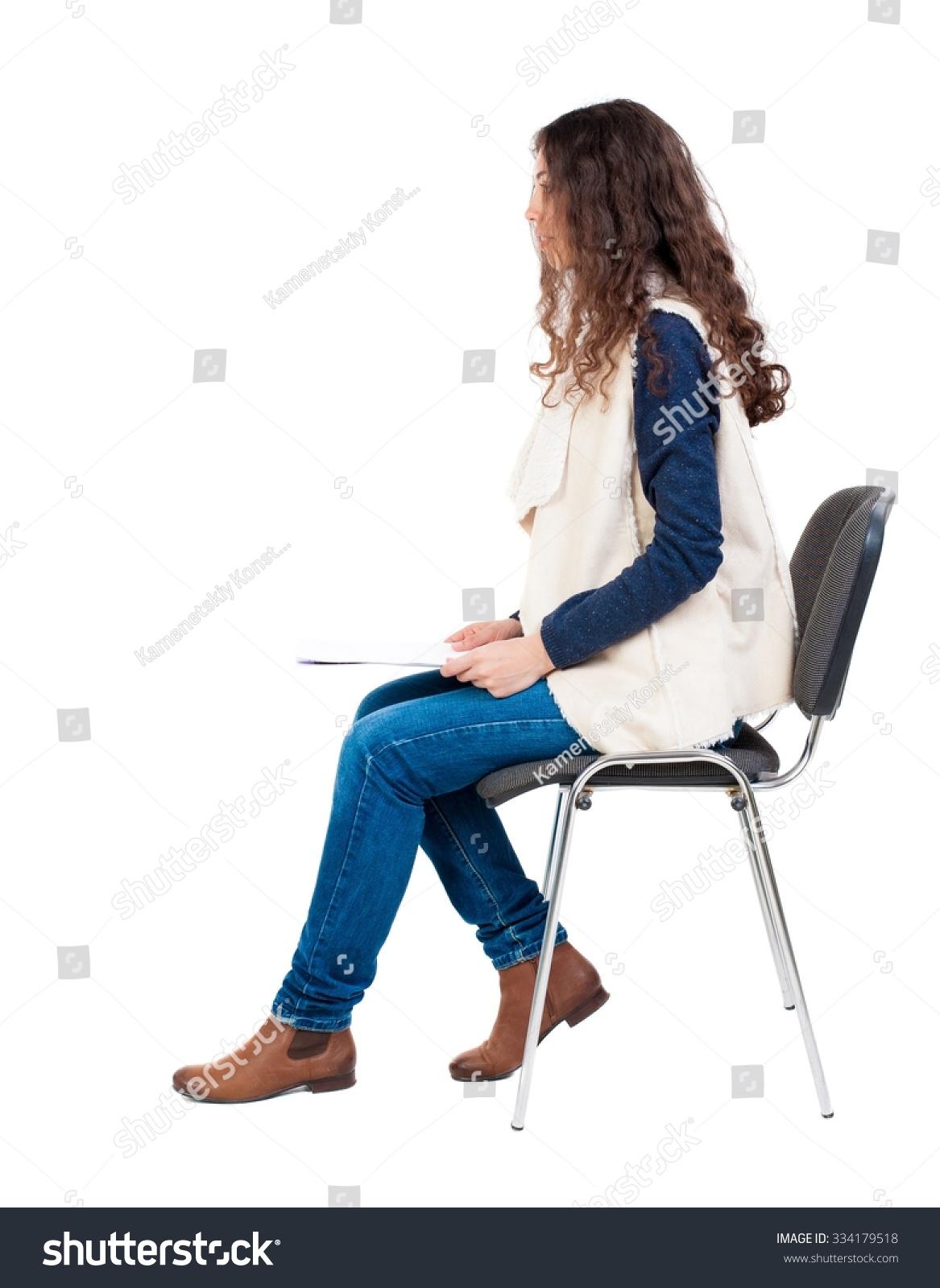 Back View Young Beautiful Woman Sitting Stock Photo ...