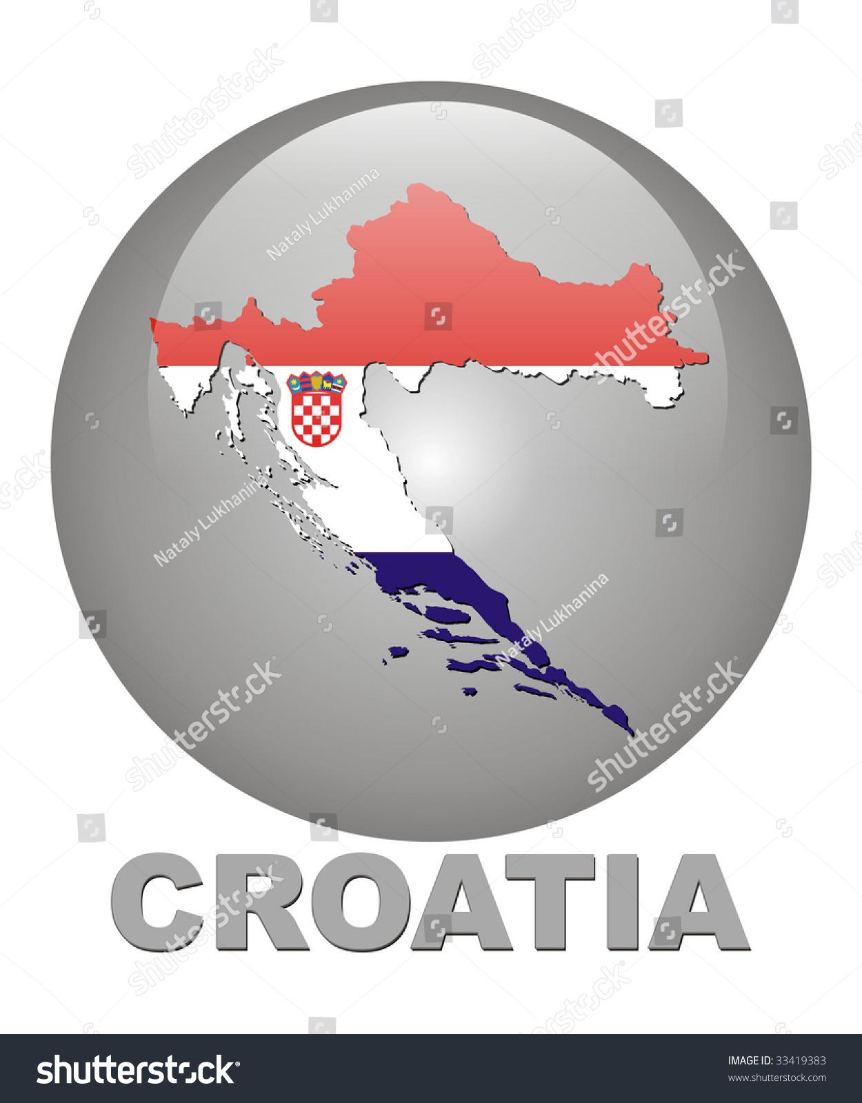 Country Symbols Croatia Territory Card Arms Stock Illustration