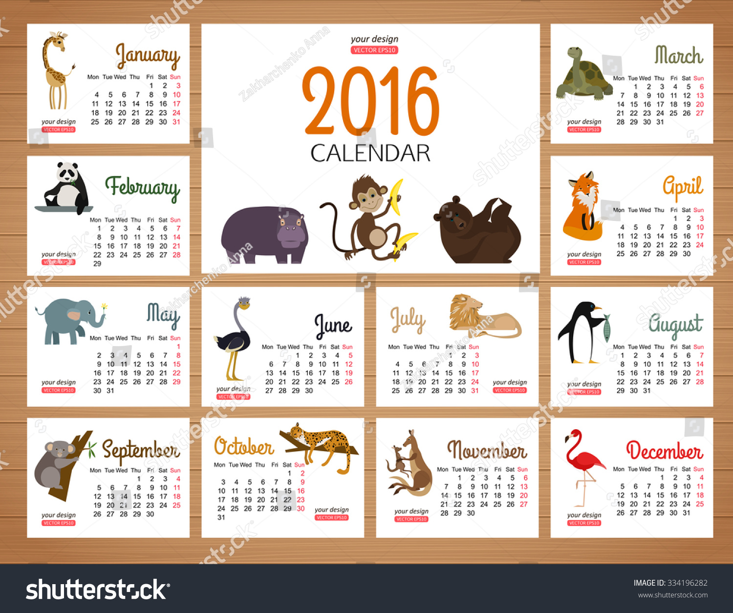 Zoo Calendar : Desk calendar vector print template with zoo animals