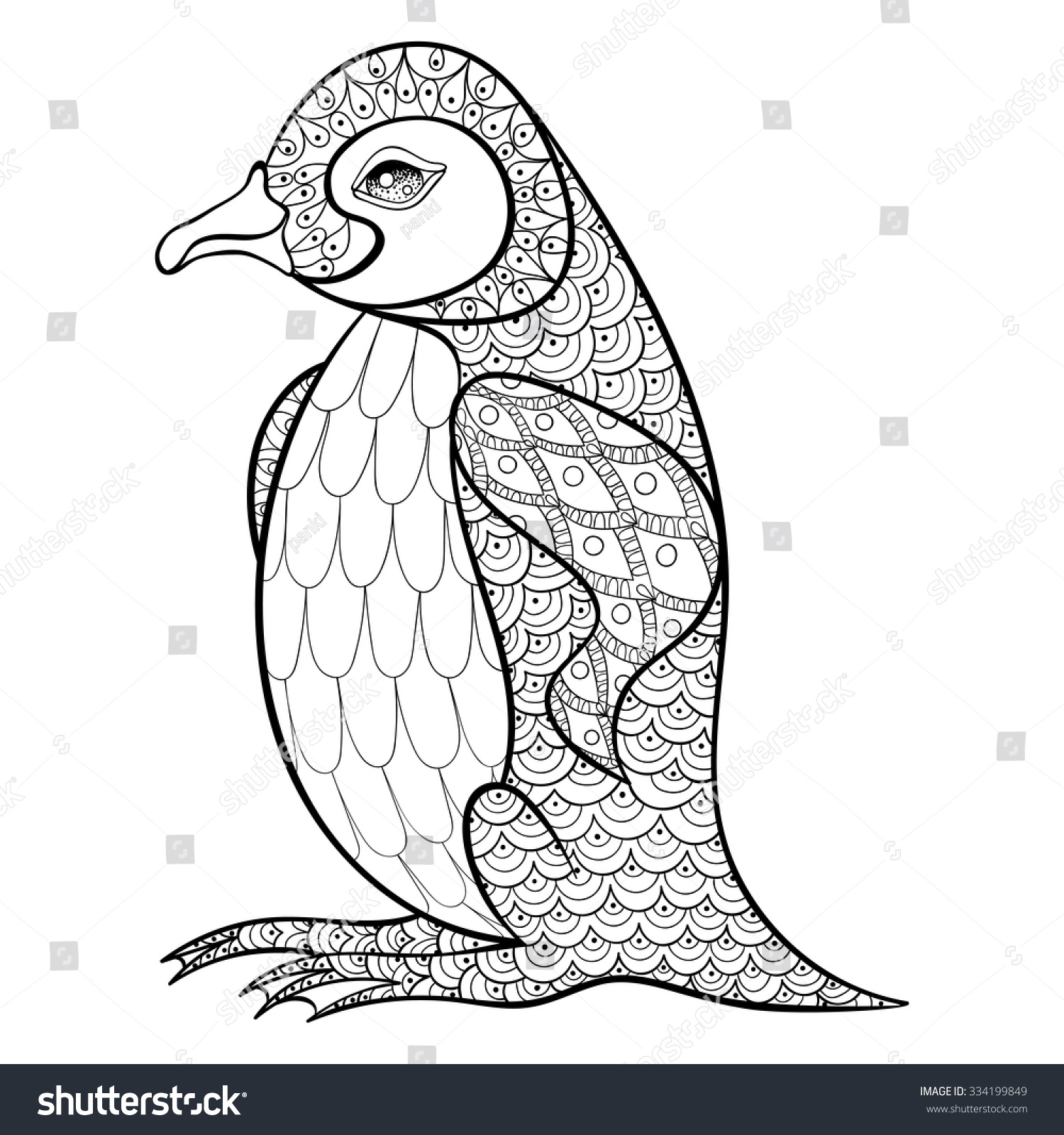 Coloring Sheets Penguins - Coloring pages with king penguin zentangle illustration for adult anti stress coloring books or tattoos