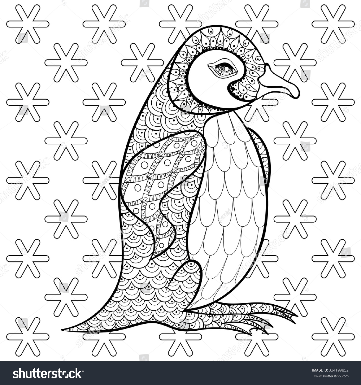 Coloring Pages With King Penguin Among Snowflakes Zentangle Illustration For Adult Anti Stress Books