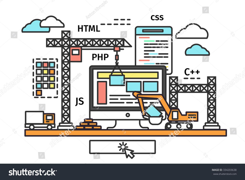 Thin line flat design of web page building process website under construction site form