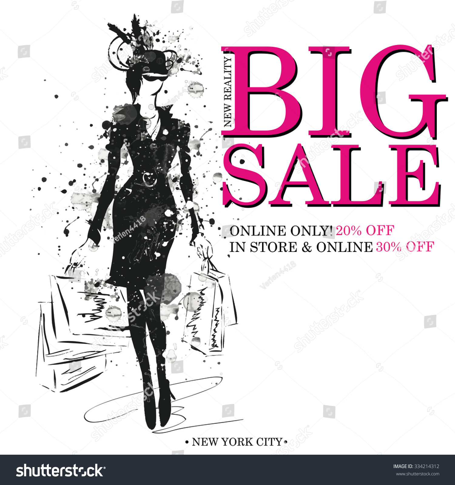 Fashion Shopping Design Template Fashion Girls Stock Vector Royalty
