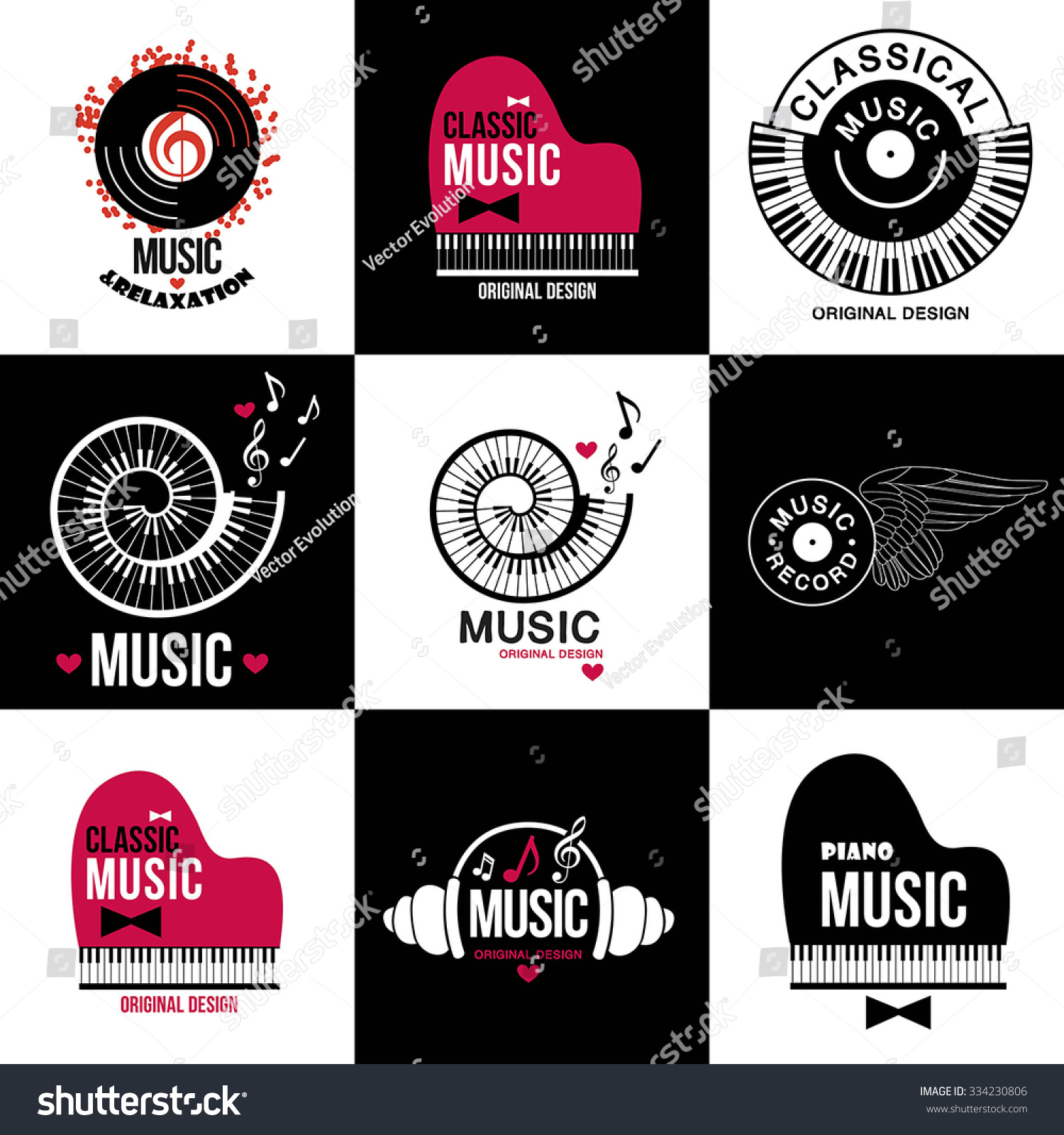 music style logo icon templates music image vectorielle 334230806 shutterstock. Black Bedroom Furniture Sets. Home Design Ideas