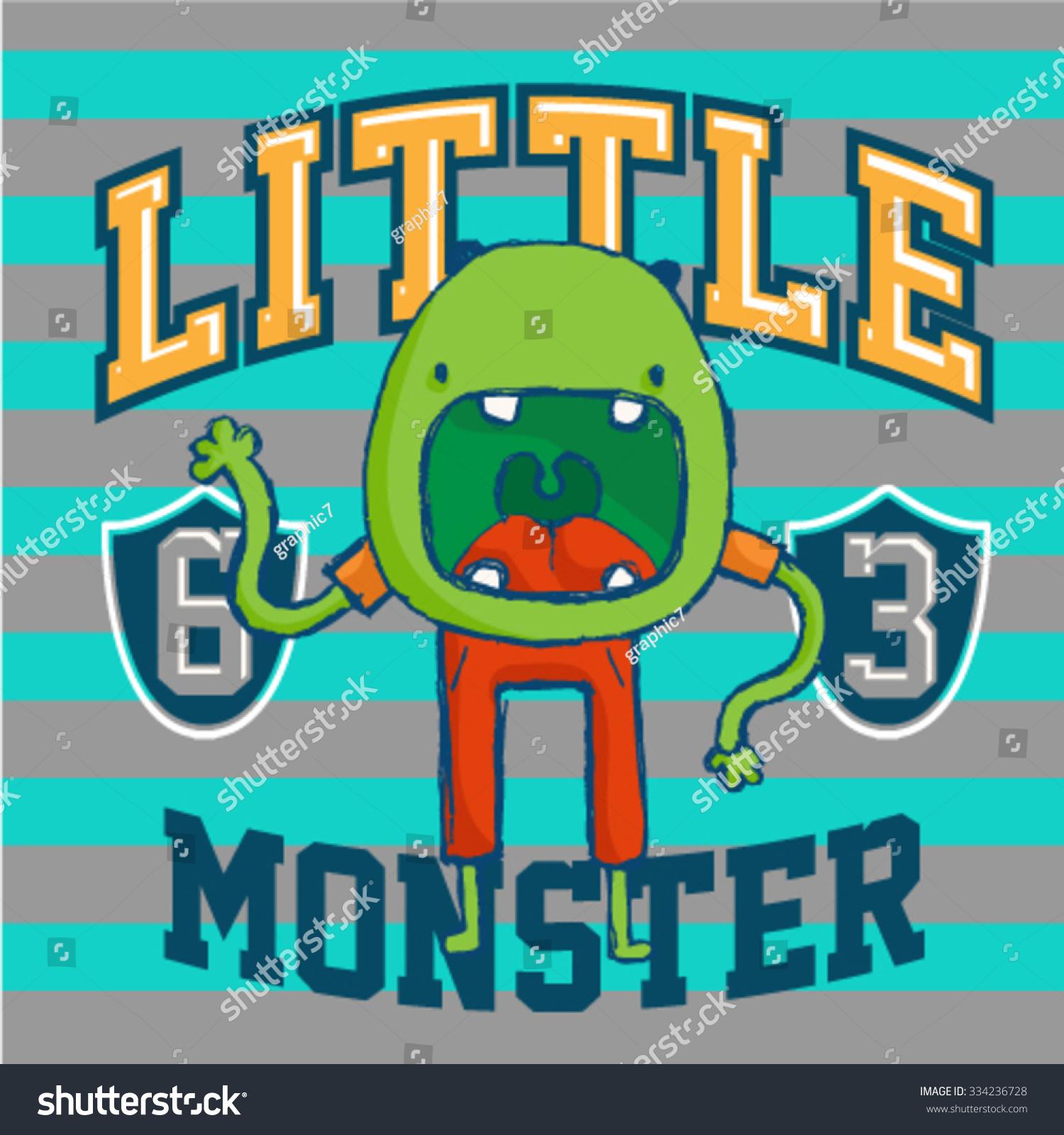 Little Monster Vintage Garment Design For Children Vector DesignInterior Elements Kids