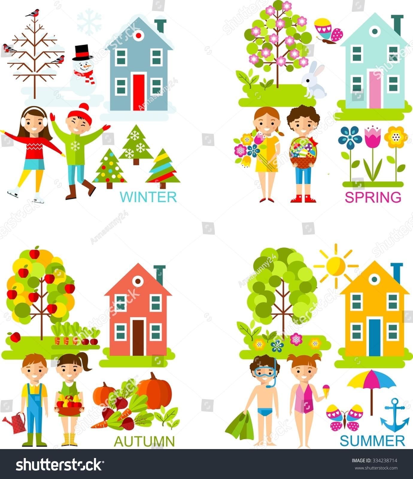 Set Vector Illustration Seasons Tree Children Stock Vector ...