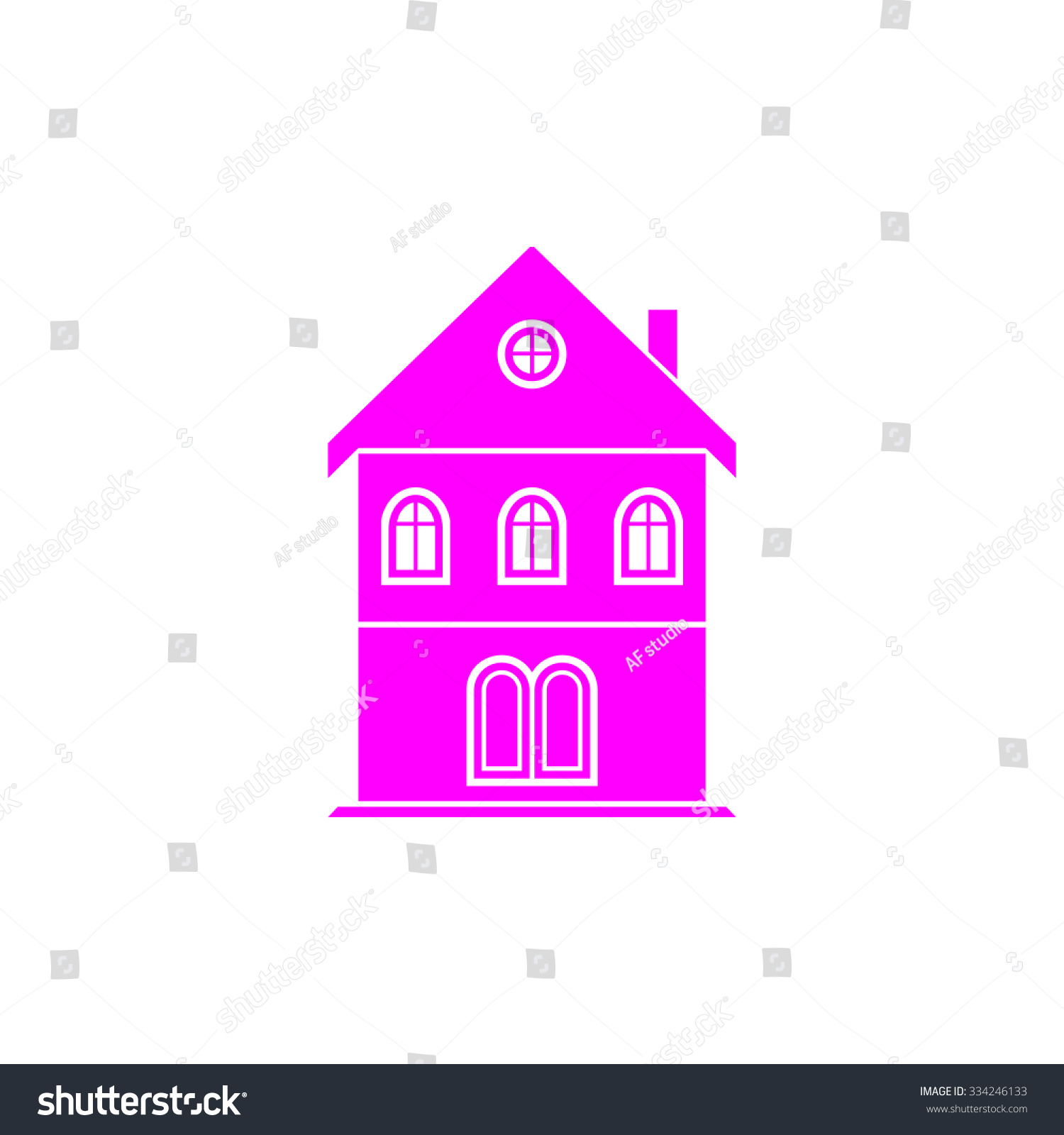 Simple Old House Pink Flat Icon Stock Vector 334246133 - Shutterstock