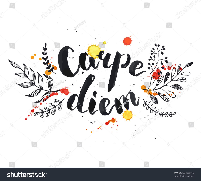 Hand written latin quote carpe diem modern calligraphy
