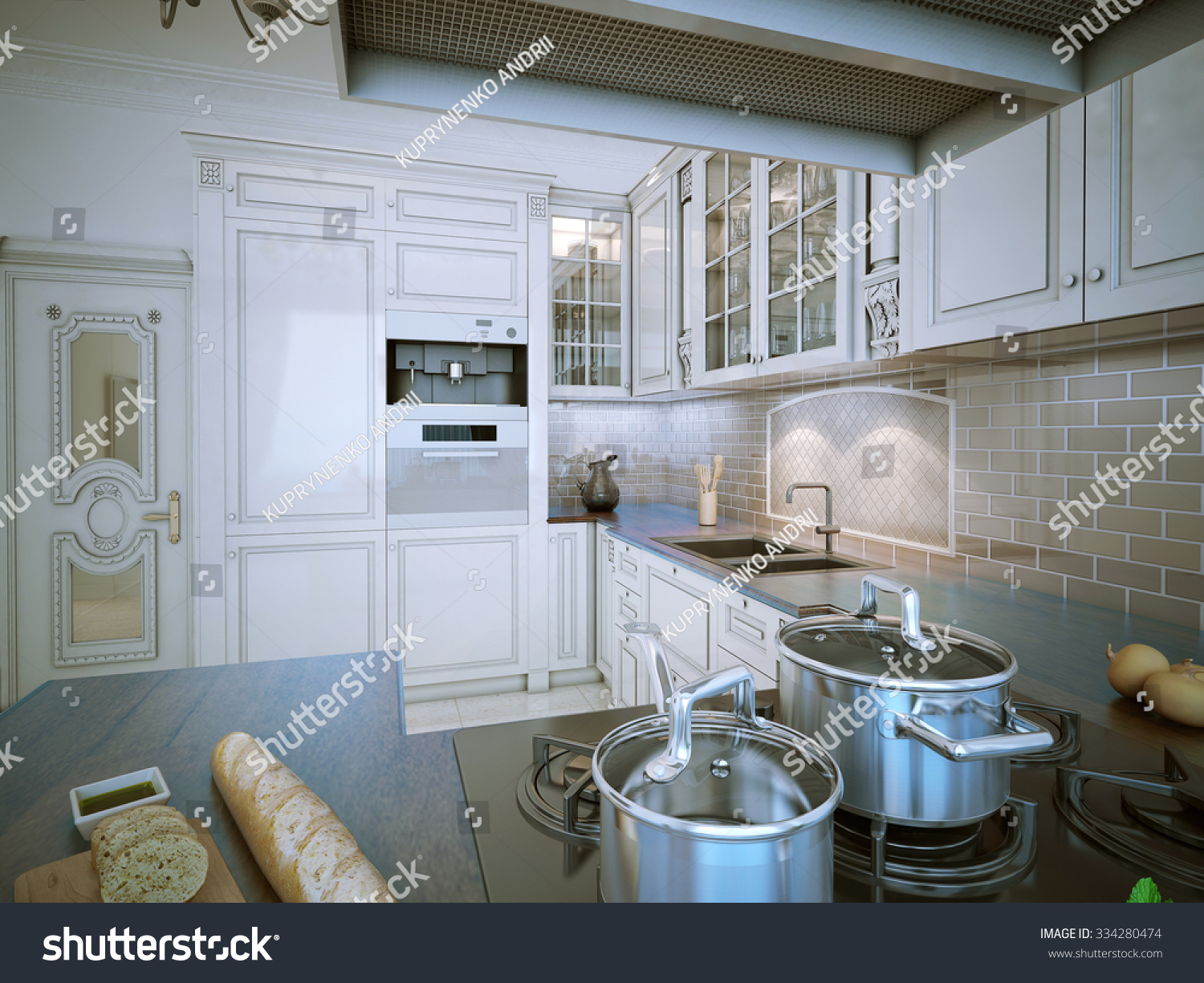 Kitchen Provence Style Luxury Eatin Kitchen Stock Illustration ...