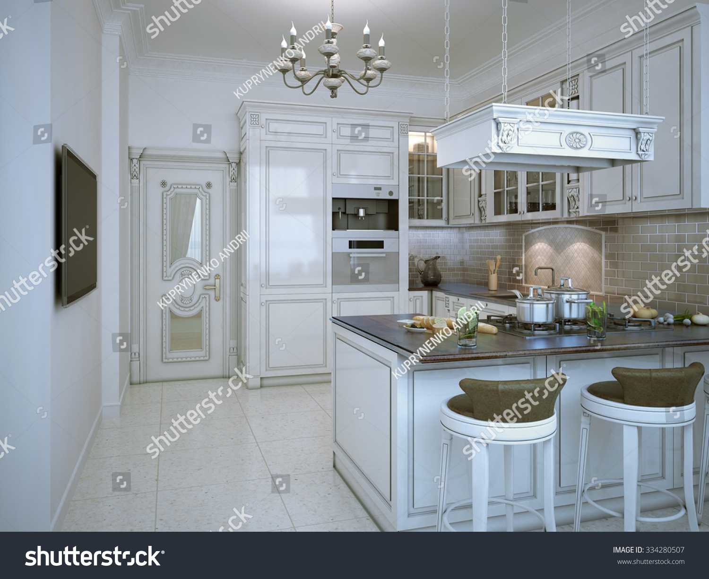 Glossy Kitchen Art Deco Style Bar Stock Illustration 334280507 ...