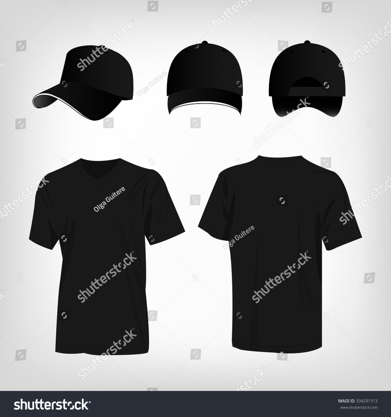 Black t shirt vector - Sportswear Black T Shirt And Black Baseball Cap Vector Set