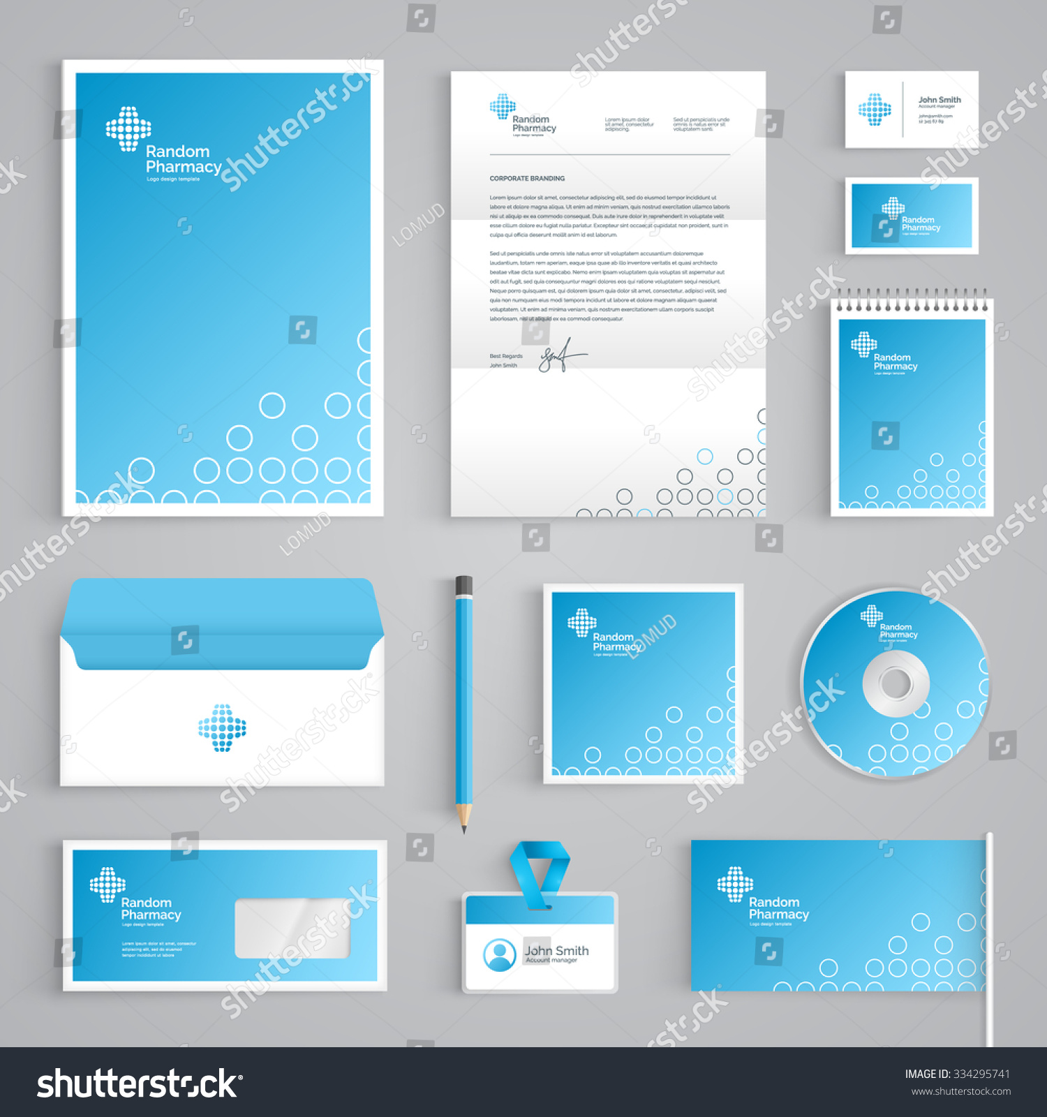 Blank Stationery And Corporate Identity Template Consist: Corporate Identity Medical Branding Template Abstract