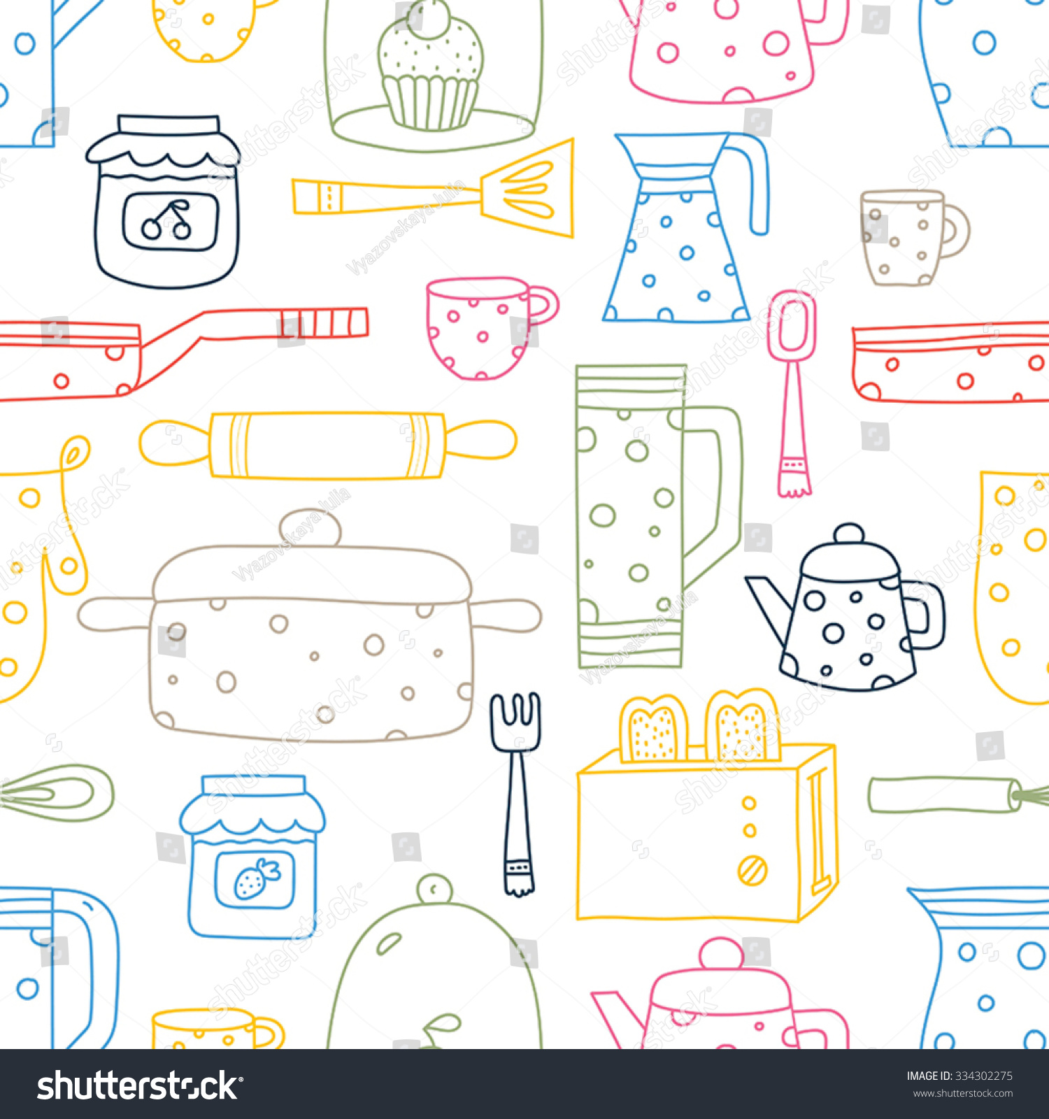 Cute Kitchen Vector Seamless Patternseamless Pattern Stock Vector