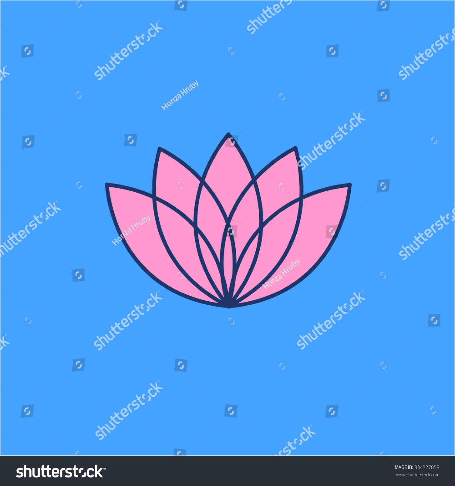 Gruppoletto Design Lineare Raiki : Lotos flower pink linear icon on stock vector