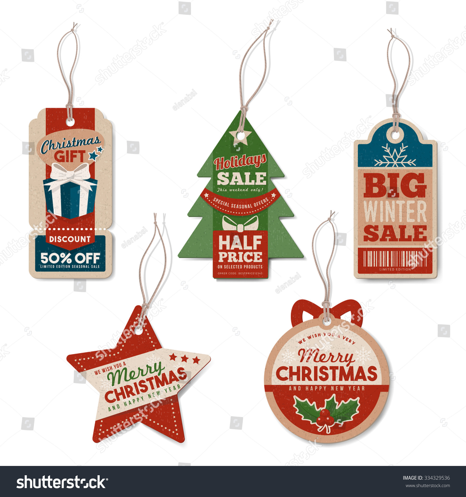 Vintage Christmas Tags Set String Textured Stock Vector 334329536 ...