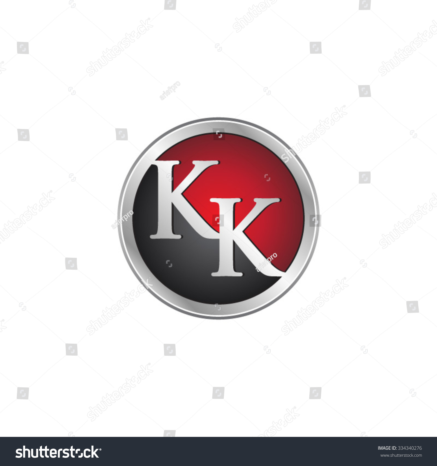 Kk Initial Circle Logo Red Stock Vector 334340276