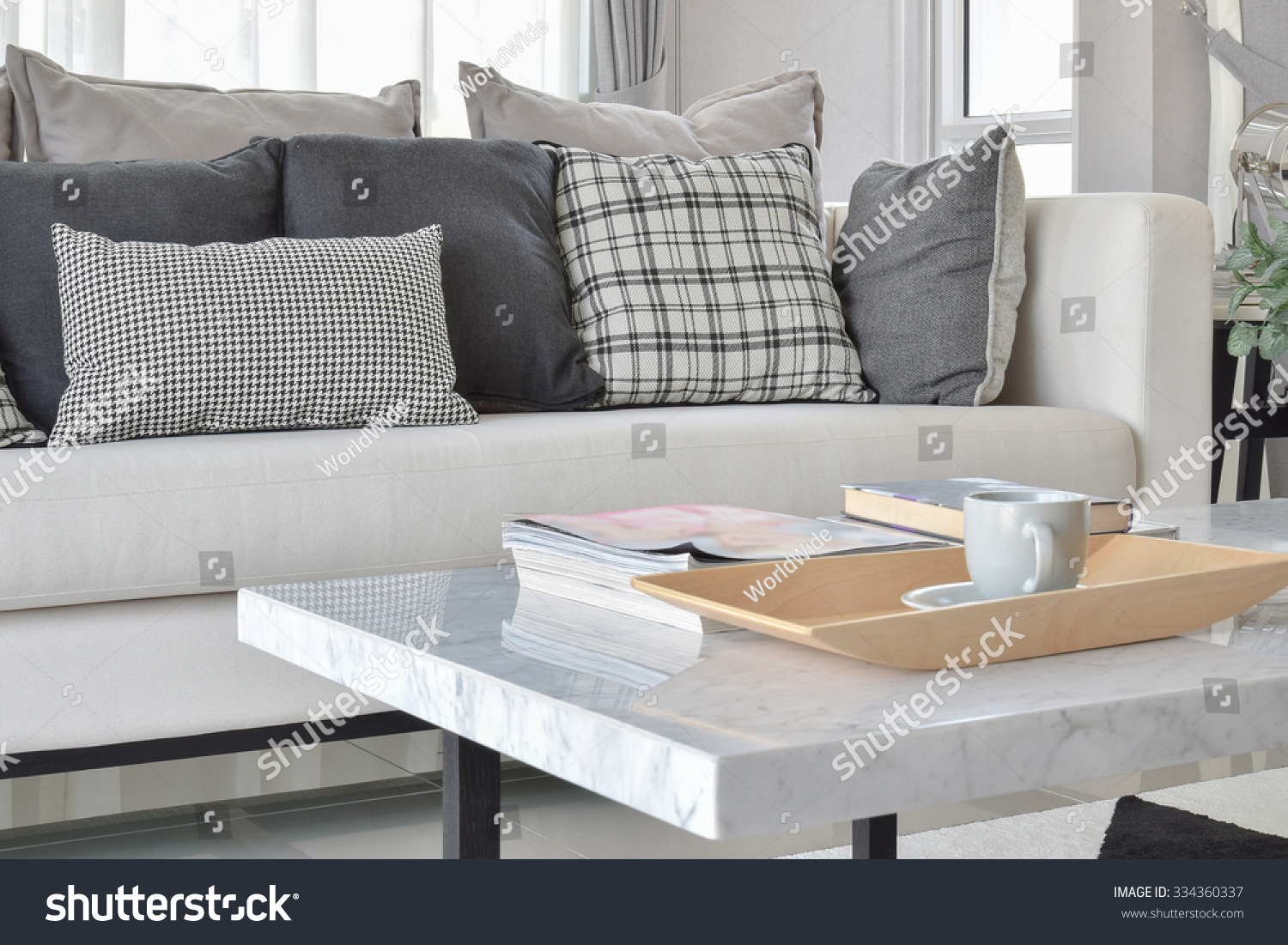 Modern Living Room Interior Black White Stock Photo (Safe to Use ...