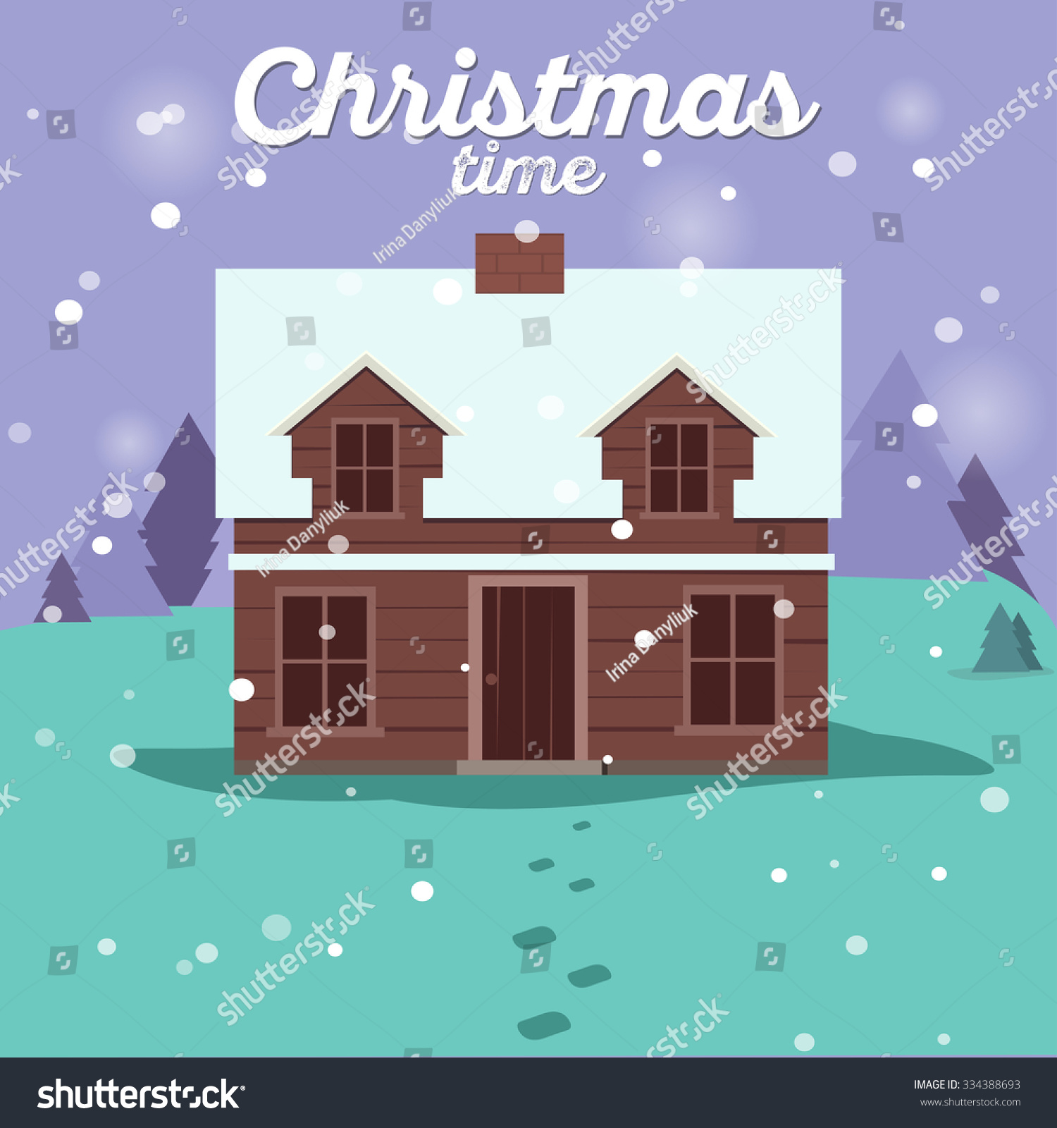 Christmas Cards Winter House Collection Vector Stock Vector Royalty