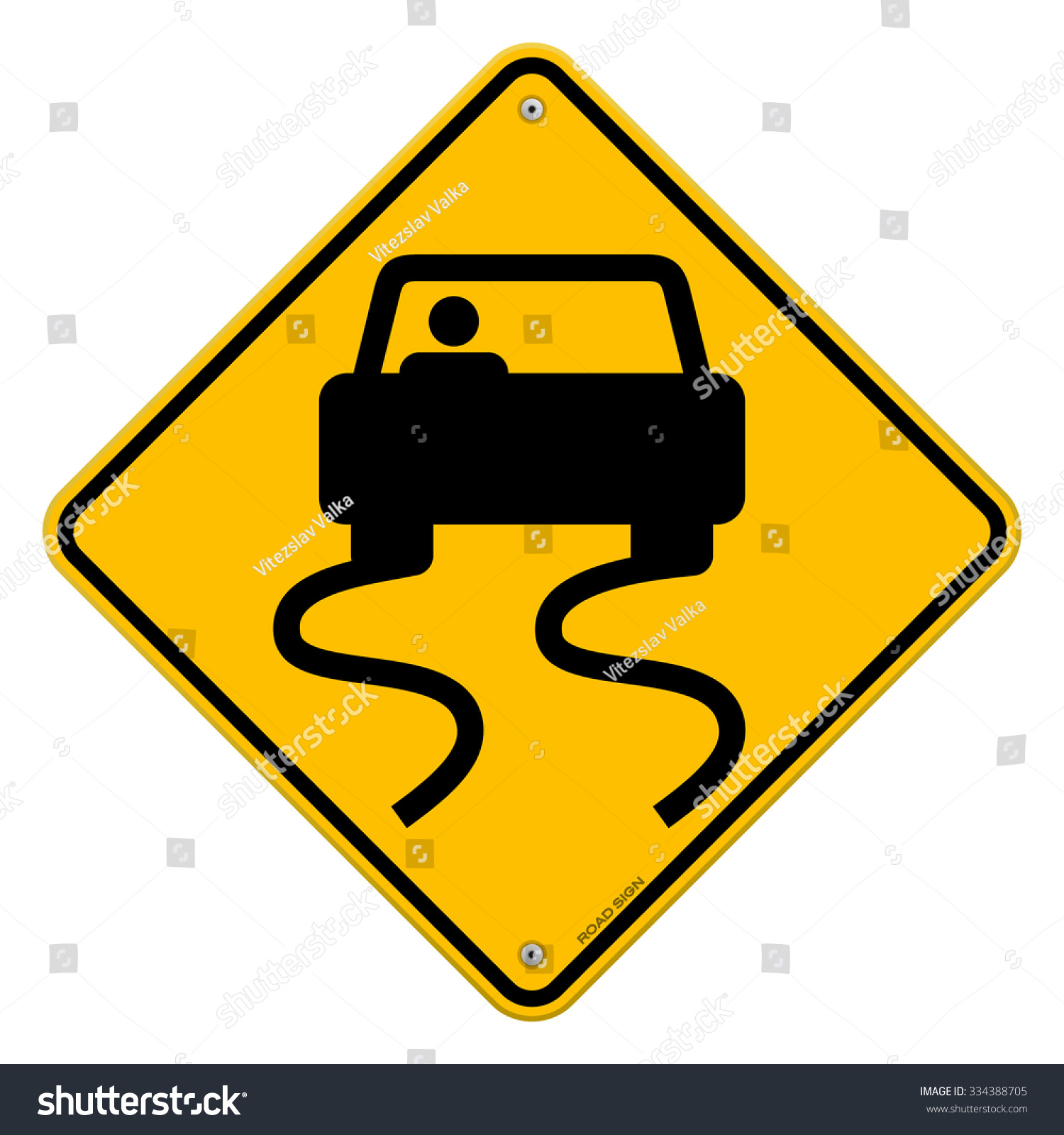 Yellow wet road sign slippery symbol stock vector 334388705 yellow wet road sign slippery symbol of a car on yellow roadsign with curvy tracks biocorpaavc Choice Image