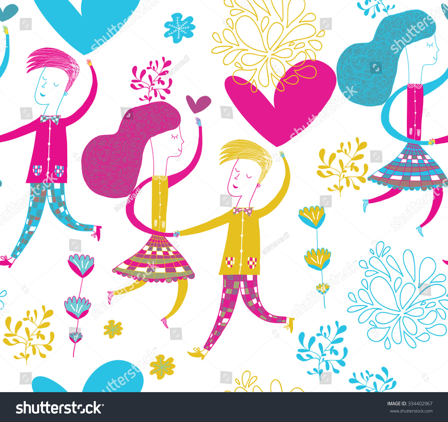 Dancing couple love vector modern seamless stock vector 334402967 dancing couple in love in vector modern seamless pattern for greeting cards packaging kristyandbryce Gallery