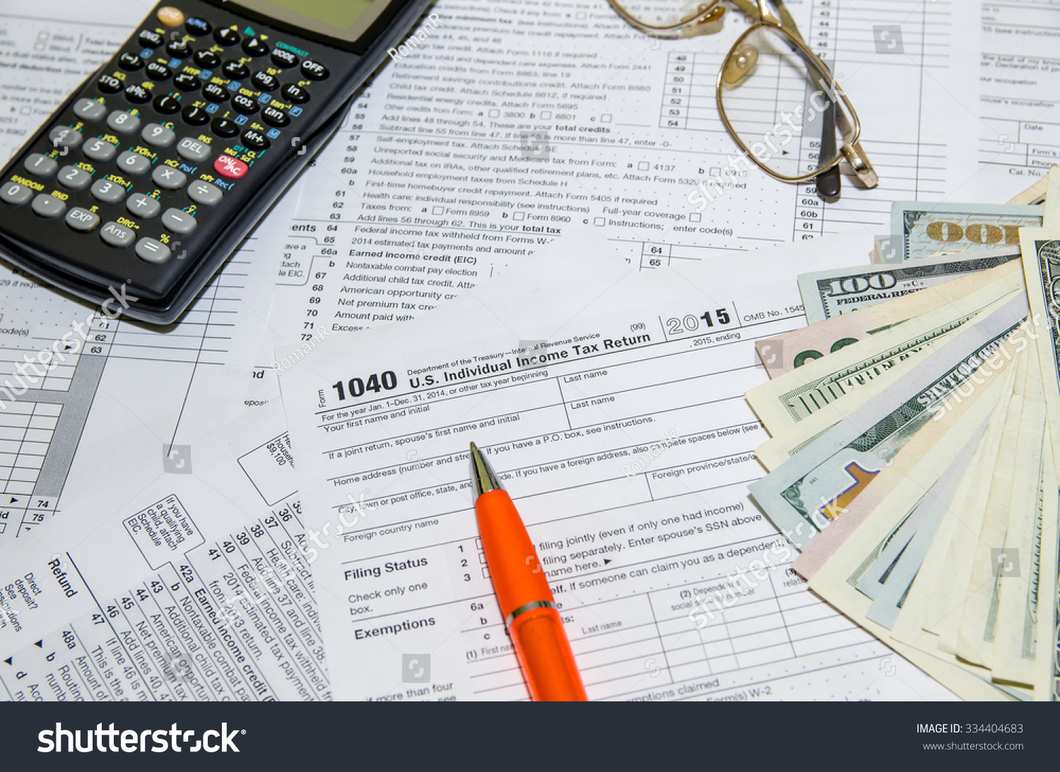 Tax Form Pen Glasses Calculator Stock Photo Edit Now 334404683