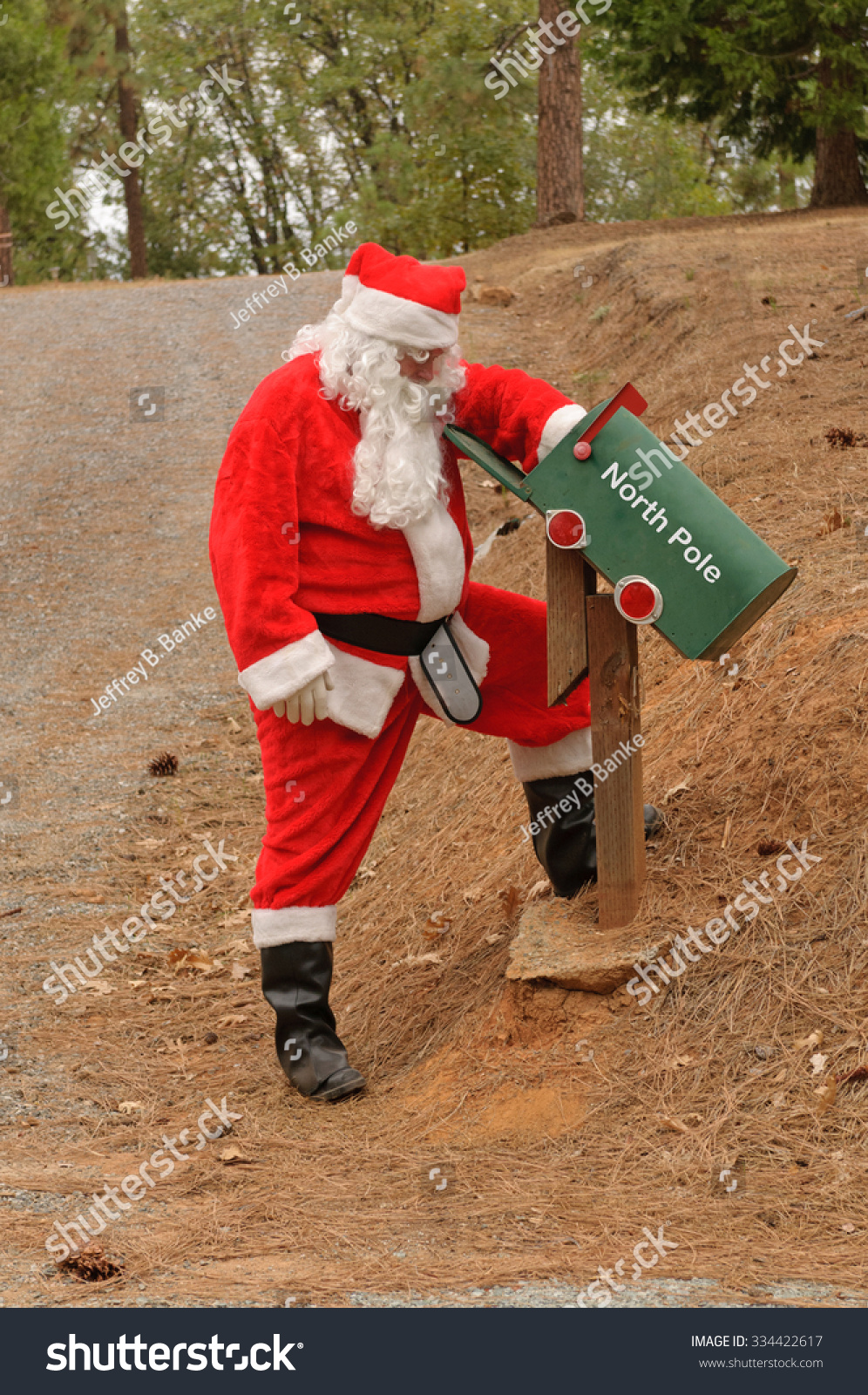 Santa Checking Mailbox Mail North Pole Stock Photo (Edit Now ...