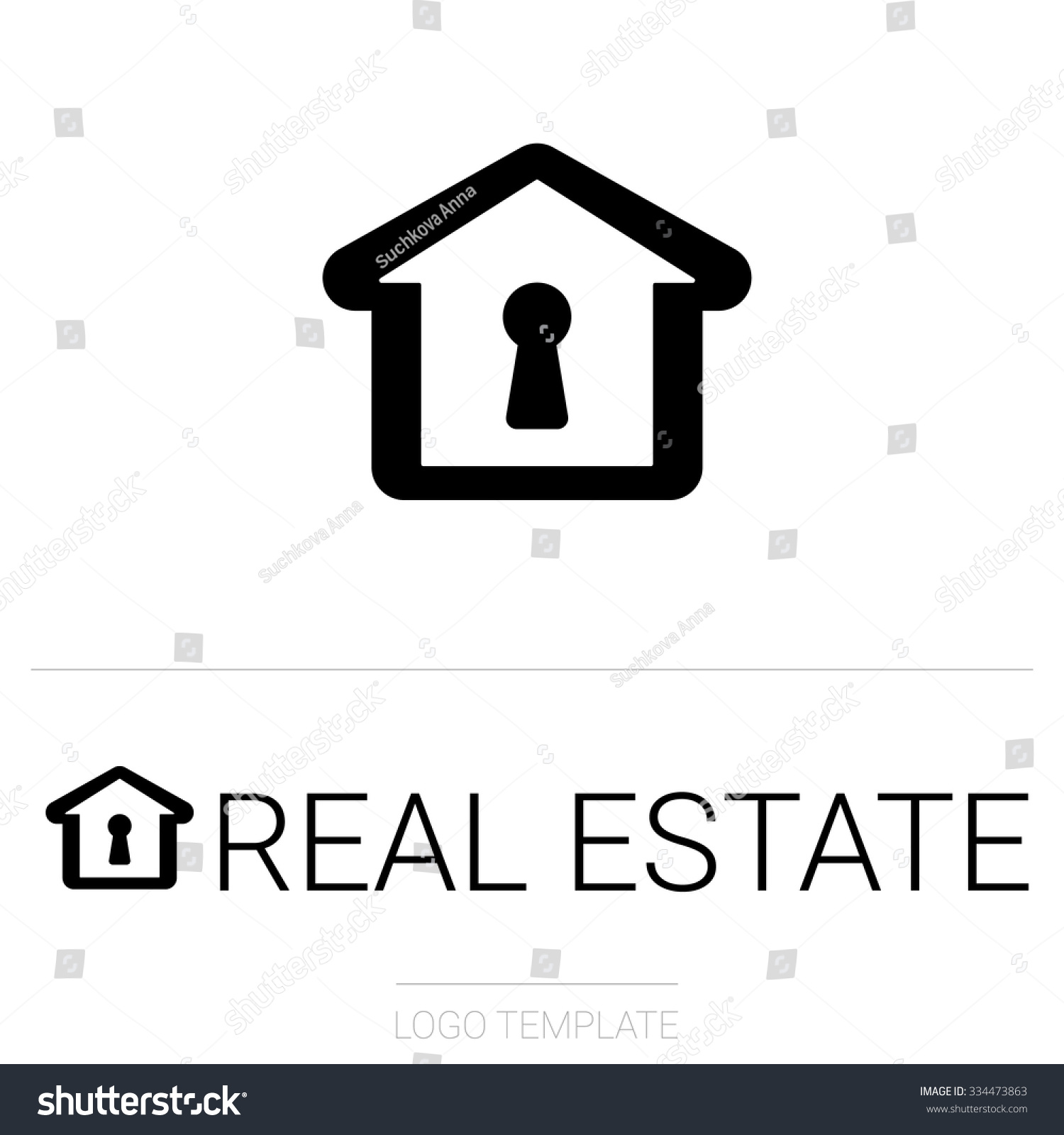 Simple Line House Logo Design For Real Estate Property Industry Cottage