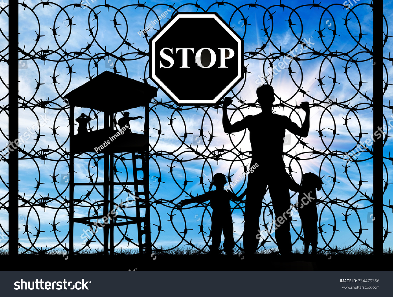 Royalty-free Concept of refugee. Silhouette of… #334479356 Stock ...