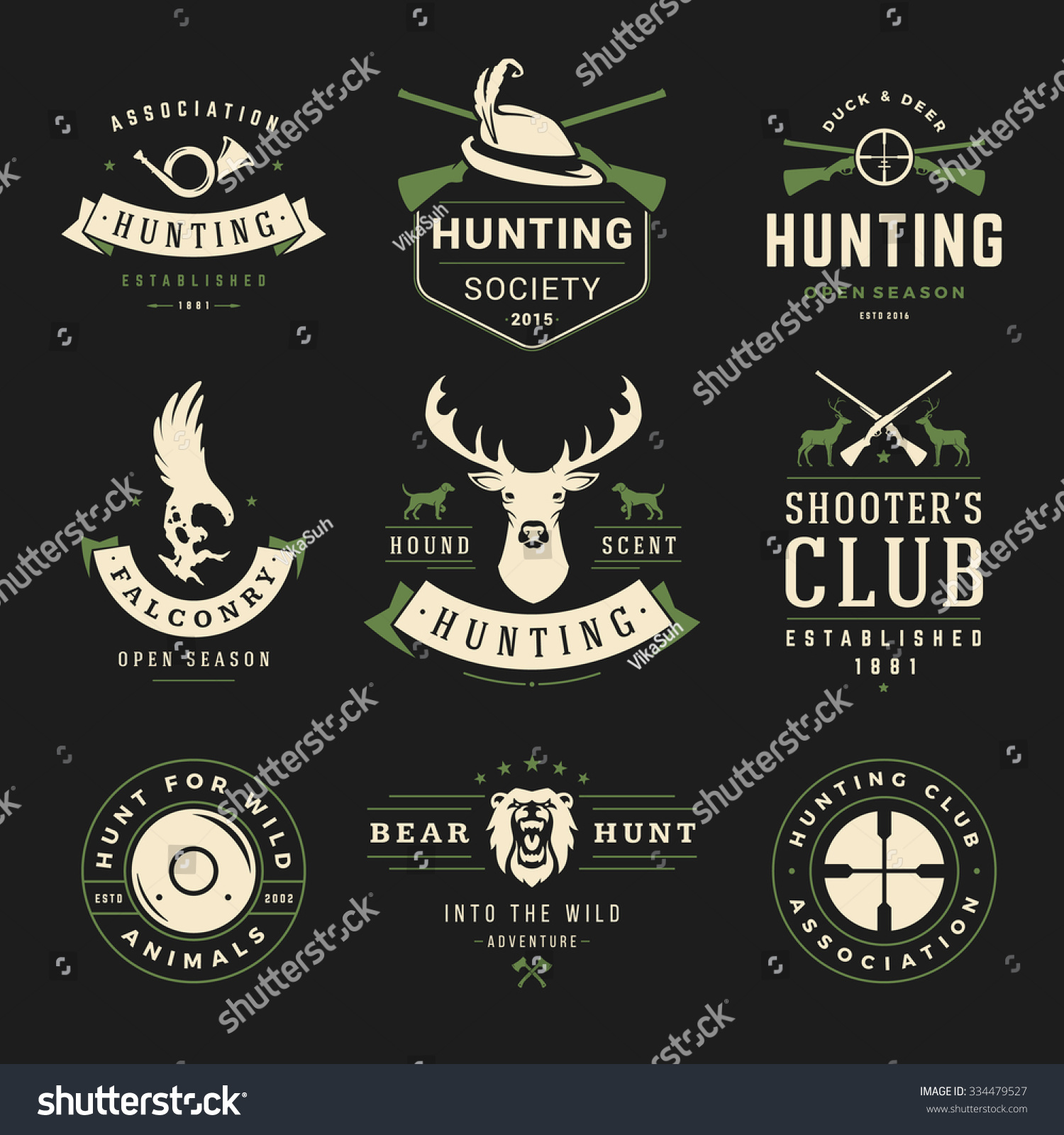 set hunting fishing labels badges logos stock vector  set of hunting and fishing labels badges logos vector design elements vintage style