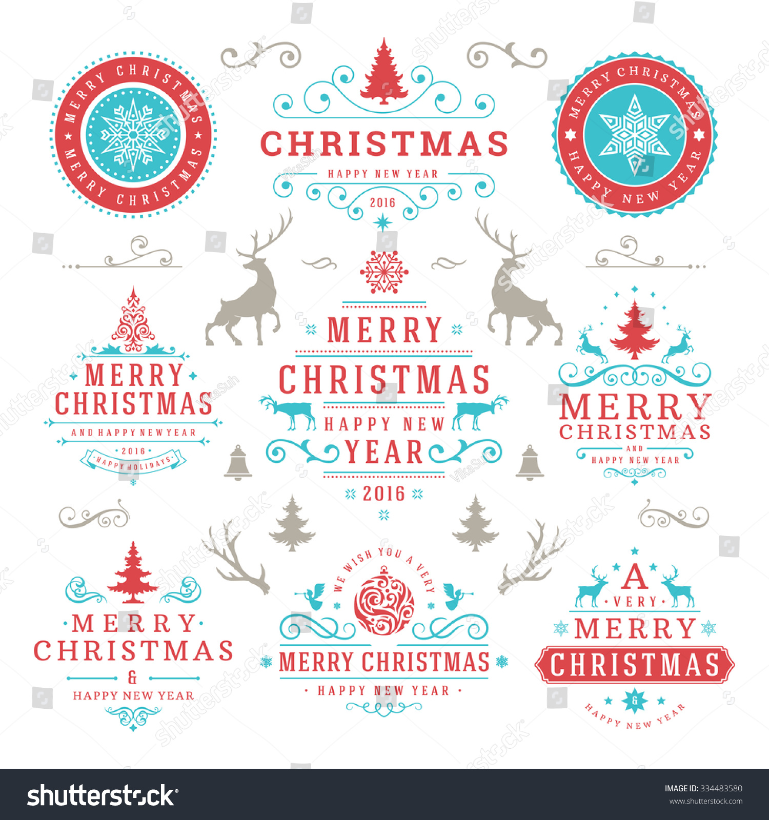 merry christmas and happy new year wishes typographic labels and badges set vintage decorations