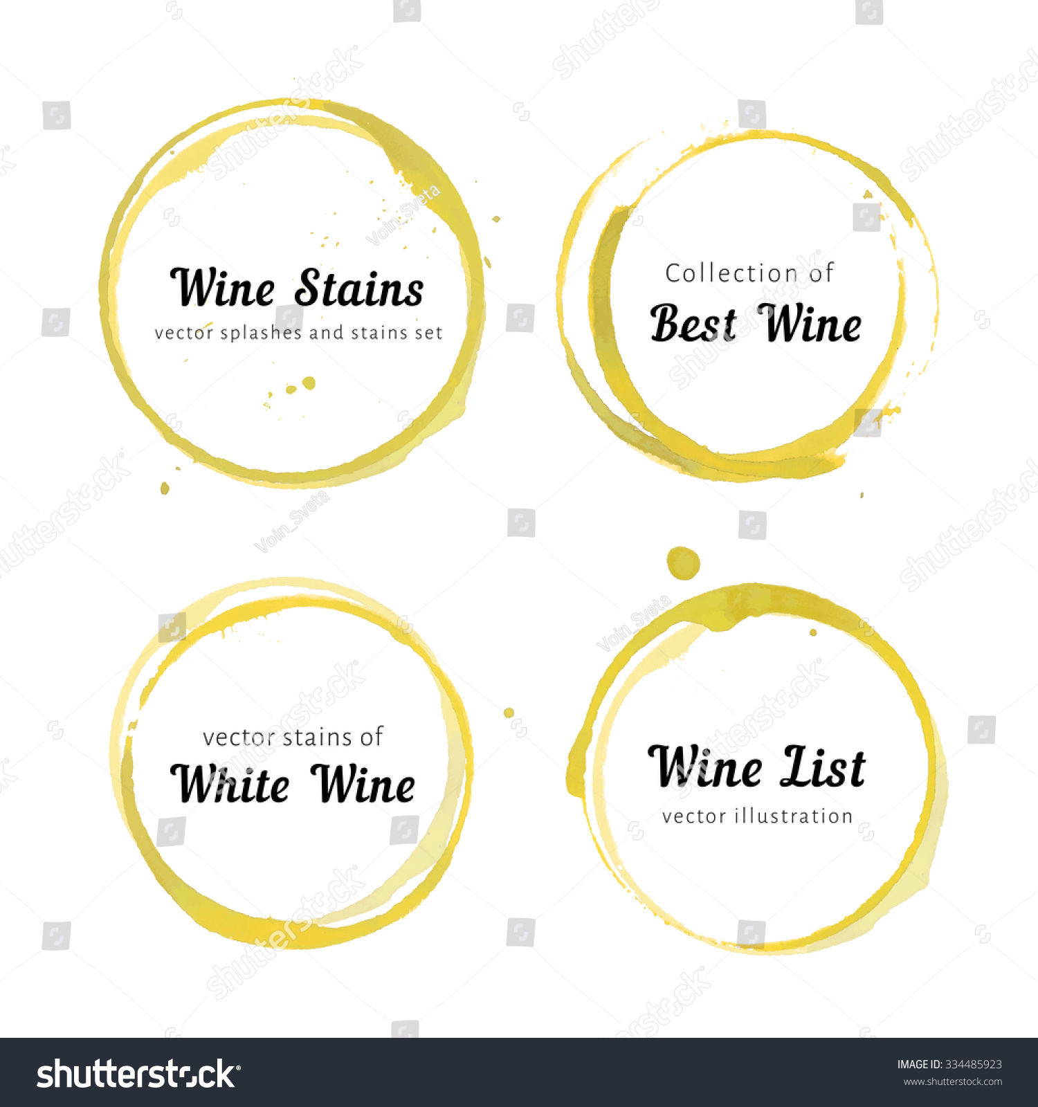 Vector Set Isolated White Wine Stain Stock Vector Royalty