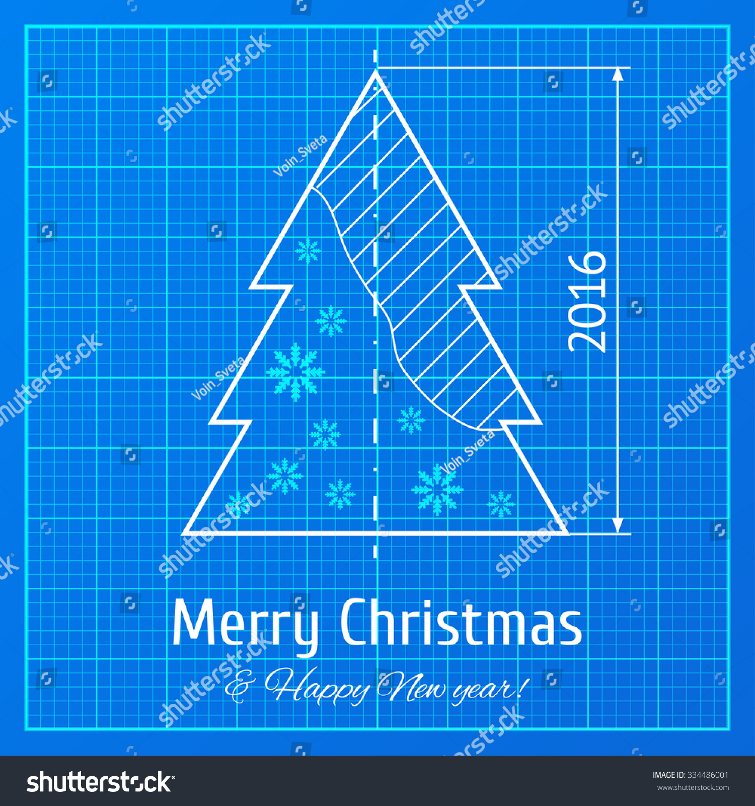 christmas tree sketch on blue architect stock vector royalty free