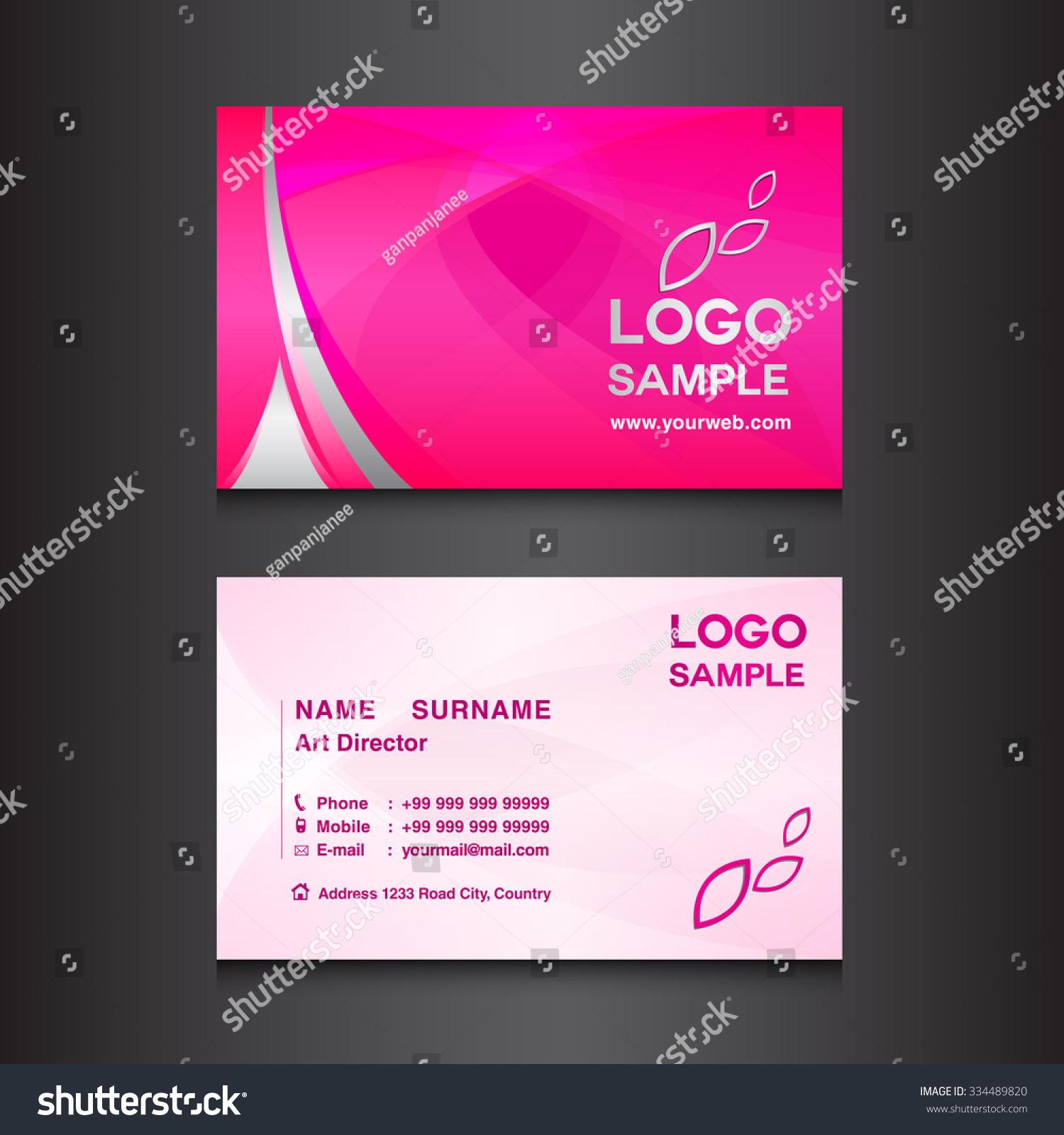 Pink Business Card Design Template Vector Stock Vector 334489820 ...