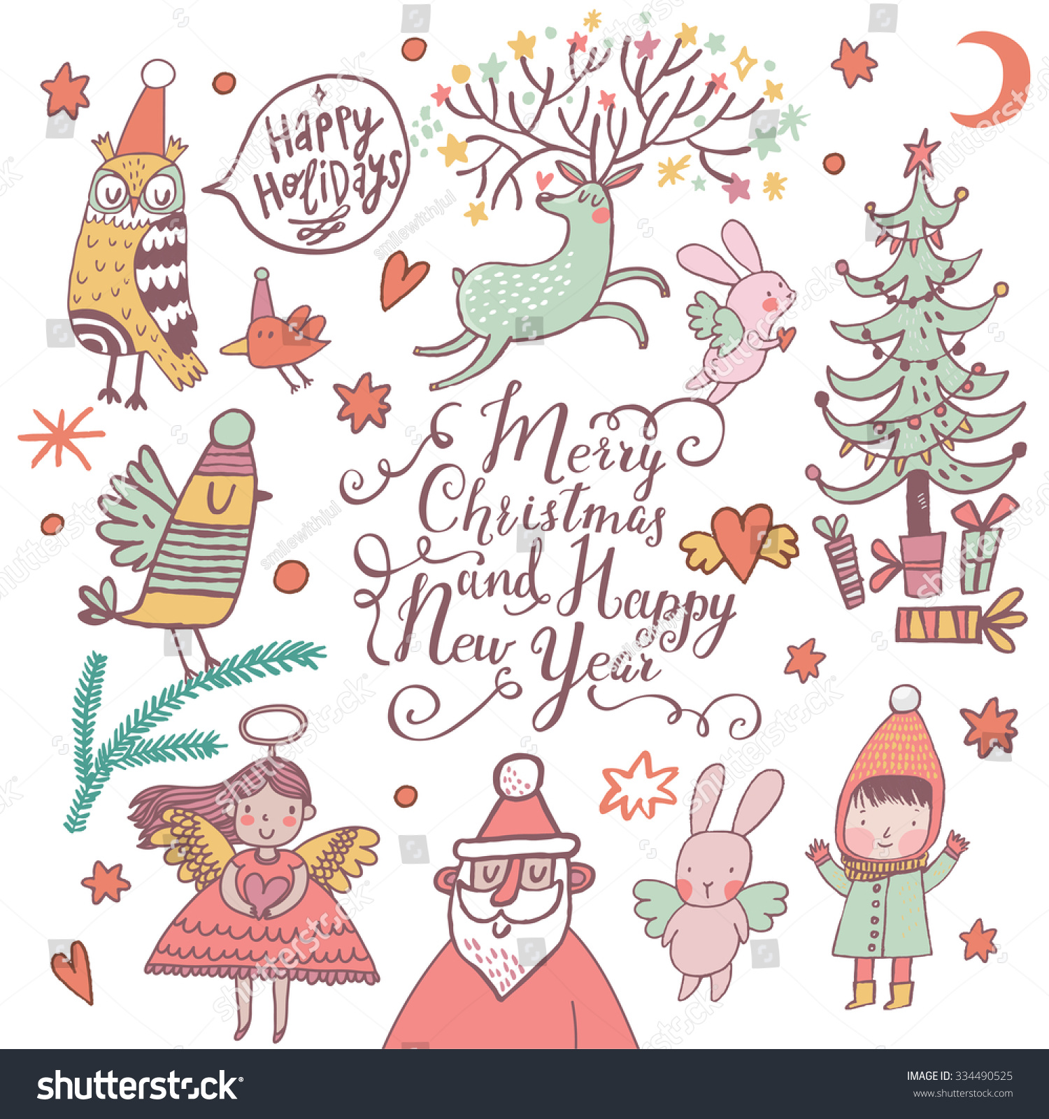 Superieur Merry Christmas And Happy New Year Awesome Card In Vector. Stylish Holiday  Background With Santa