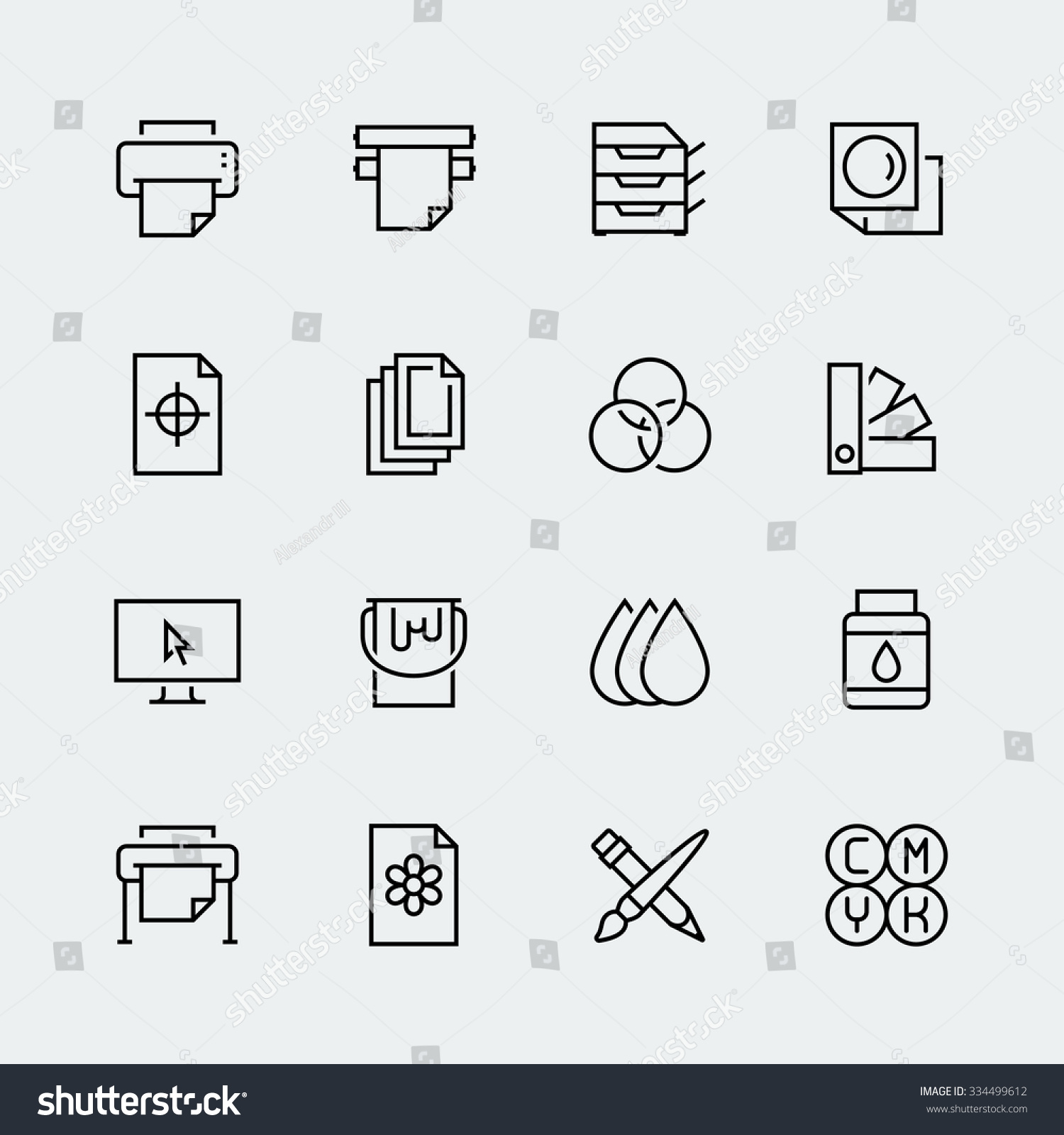 printing vector icon set thin line image vectorielle