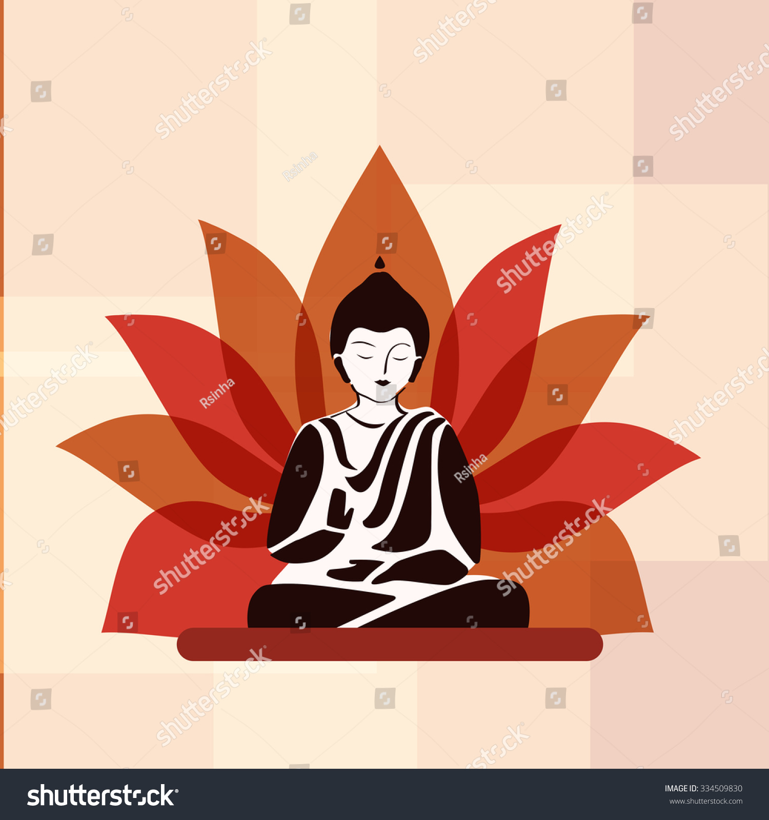 Lotus Flower Buddha Silhouette Front Stock Vector Royalty Free