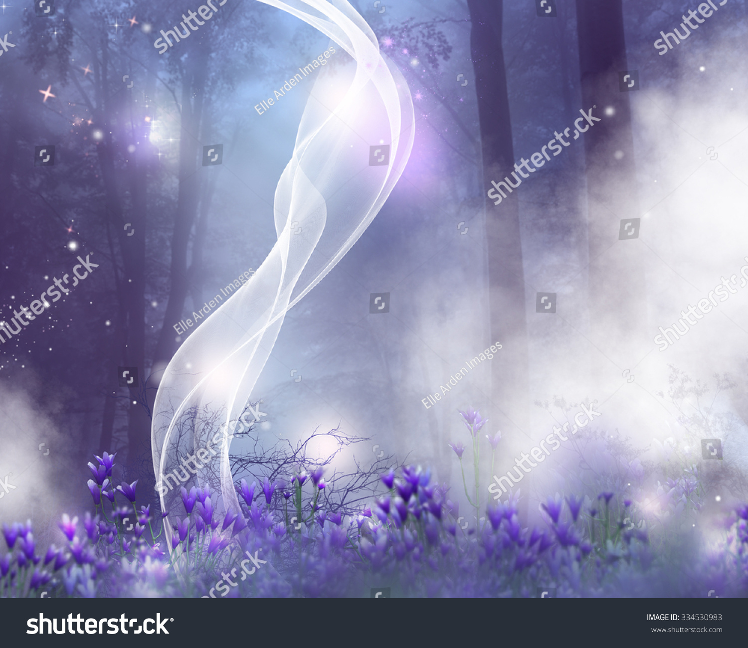 Fantasy Background Purple Flowers Magic Effects Stock