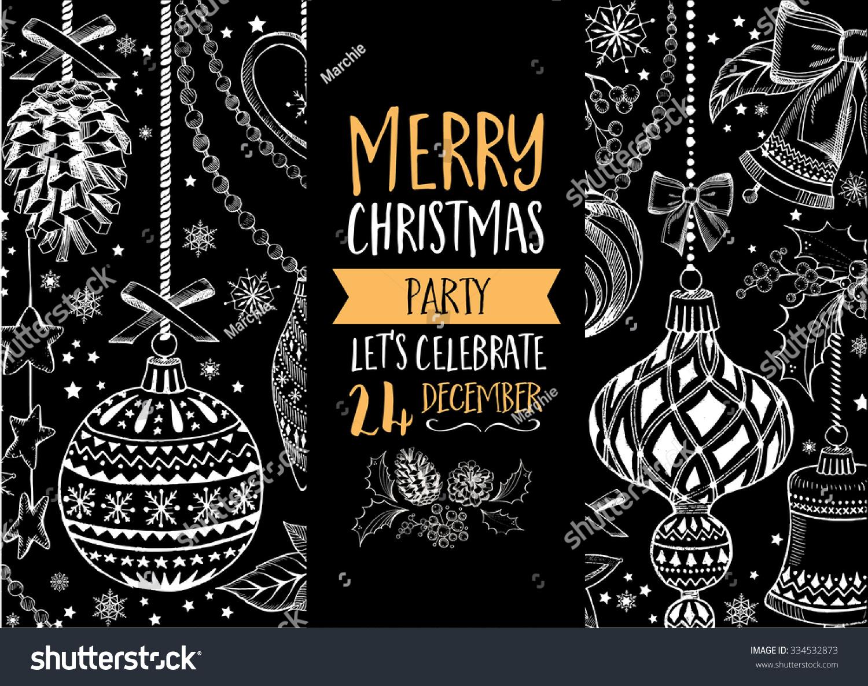 Vector Christmas Party Invitation Toys Holiday Stock Vector Royalty