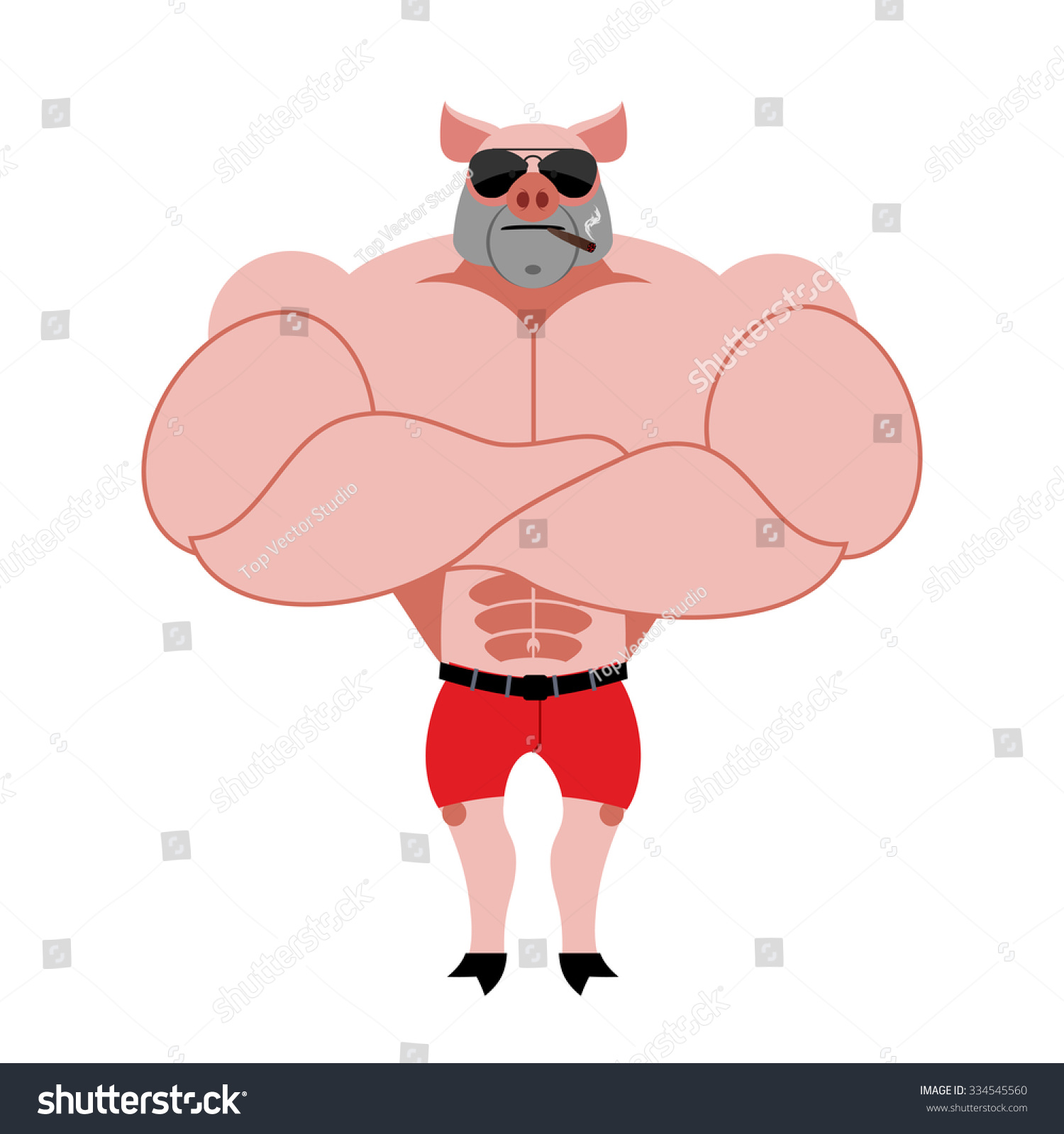 Strong pig bodybuilder with huge muscles. Farm animal athlete